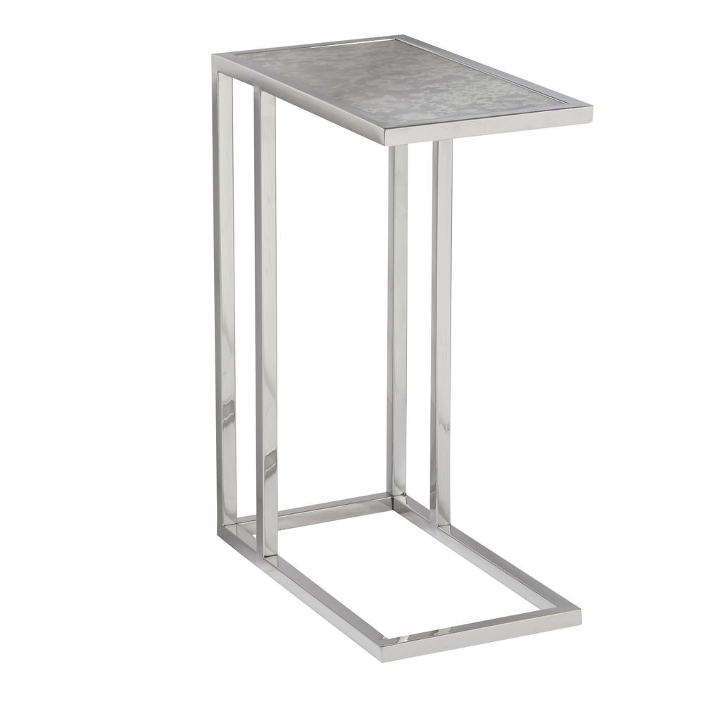 accentrics home contemporary rectangular glass side table stainless silver accent target steel half moon mirrored barn door kitchen tall with storage art deco end pier one dining