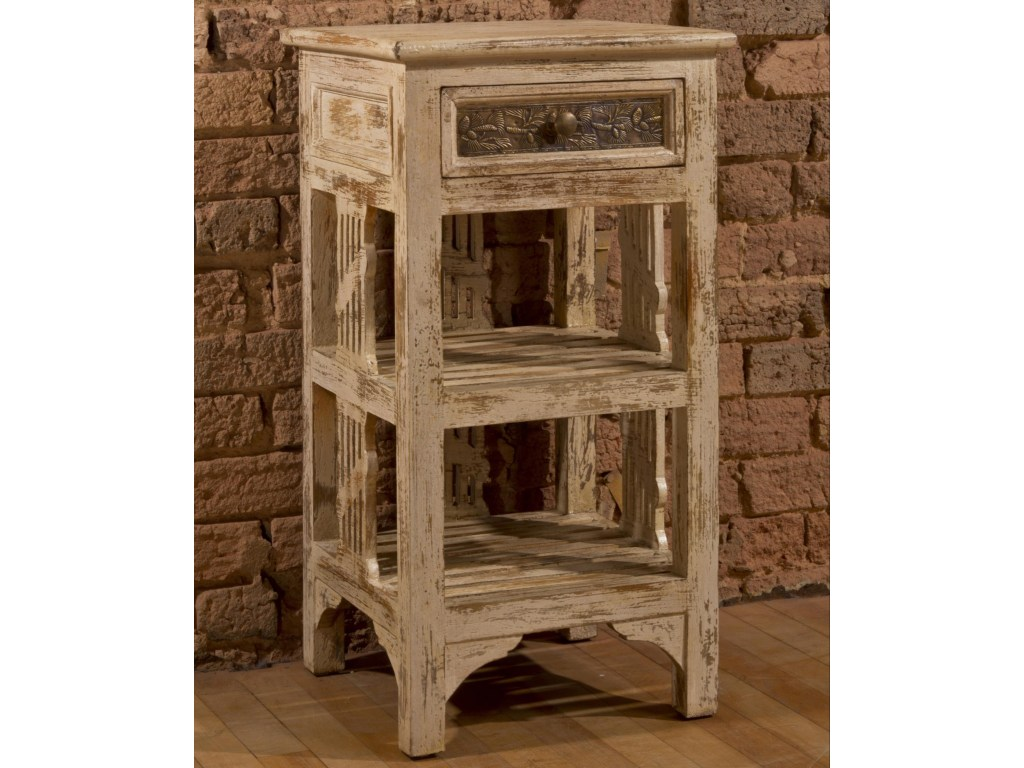 accents end table with two shelves and distressed finish rotmans products hillsdale color accent tables drawers accentsend folding dinner hobby lobby coffee mirrored sofa silver