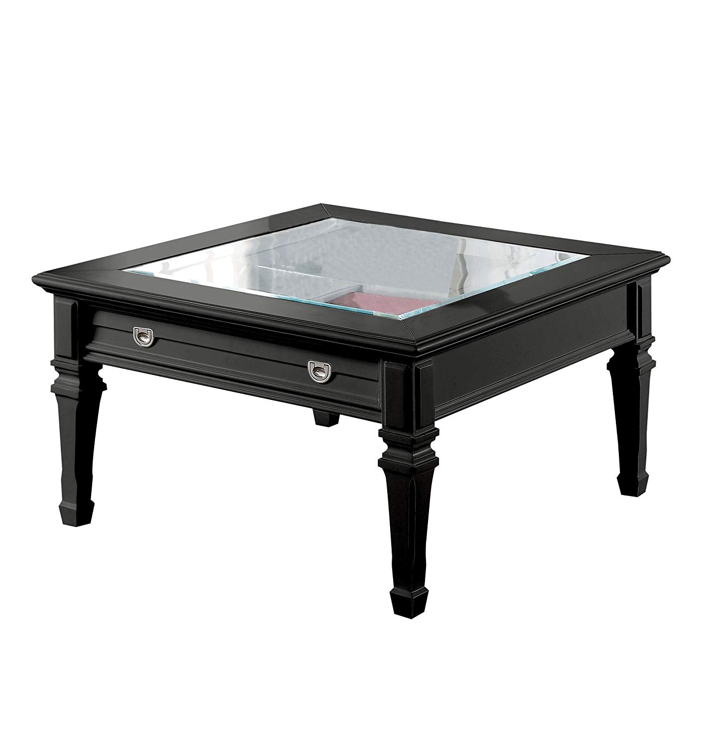 acme adalyn black coffee table with display glass top round metal glynn accent kitchen dining mirrored bedside chest colorful nightstands wooden threshold bar outdoor rattan