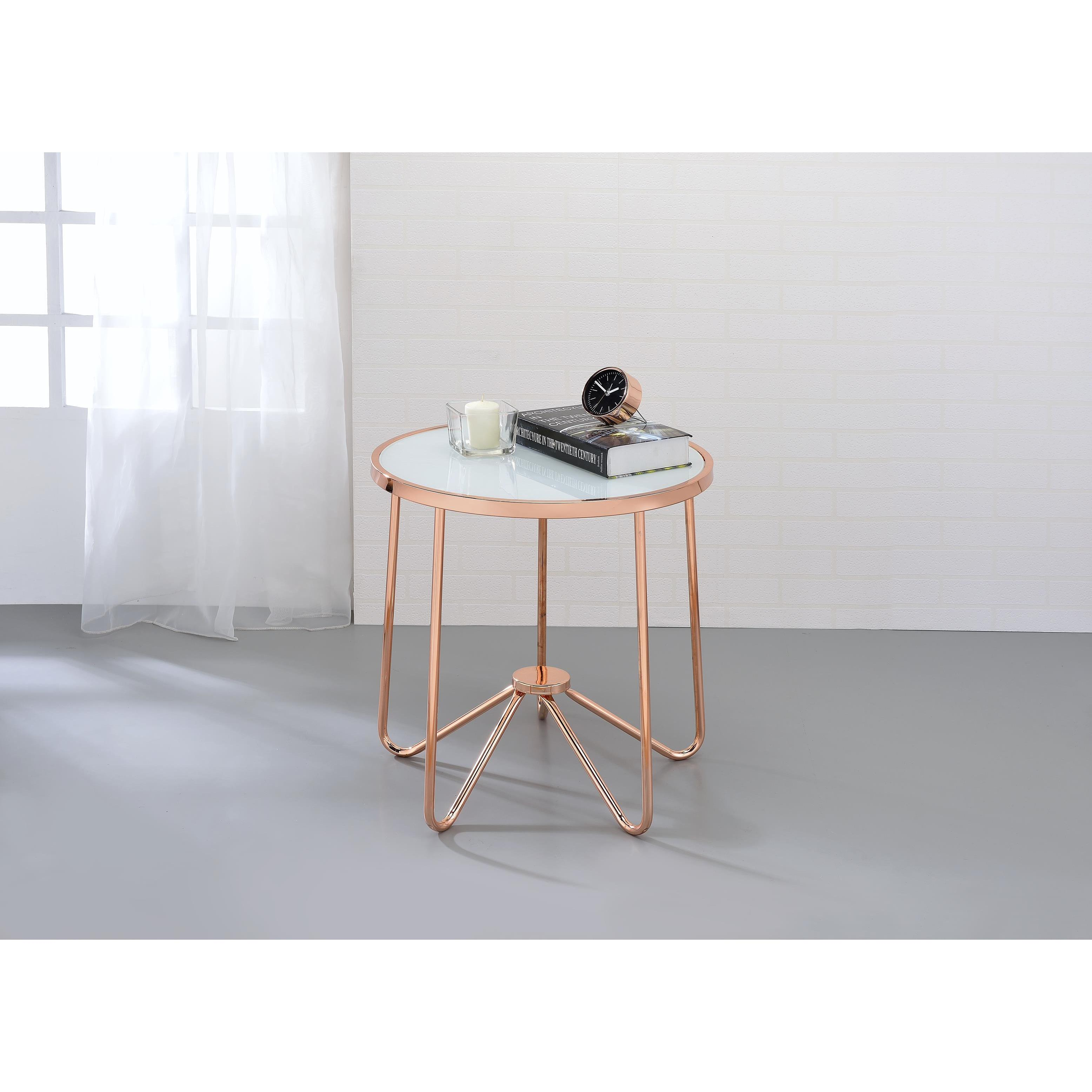 acme furniture alivia rose gold metal and frosted glass coffee end table antique faceted accent with top free shipping today pineapple lights marble brass lawn chairs nautical