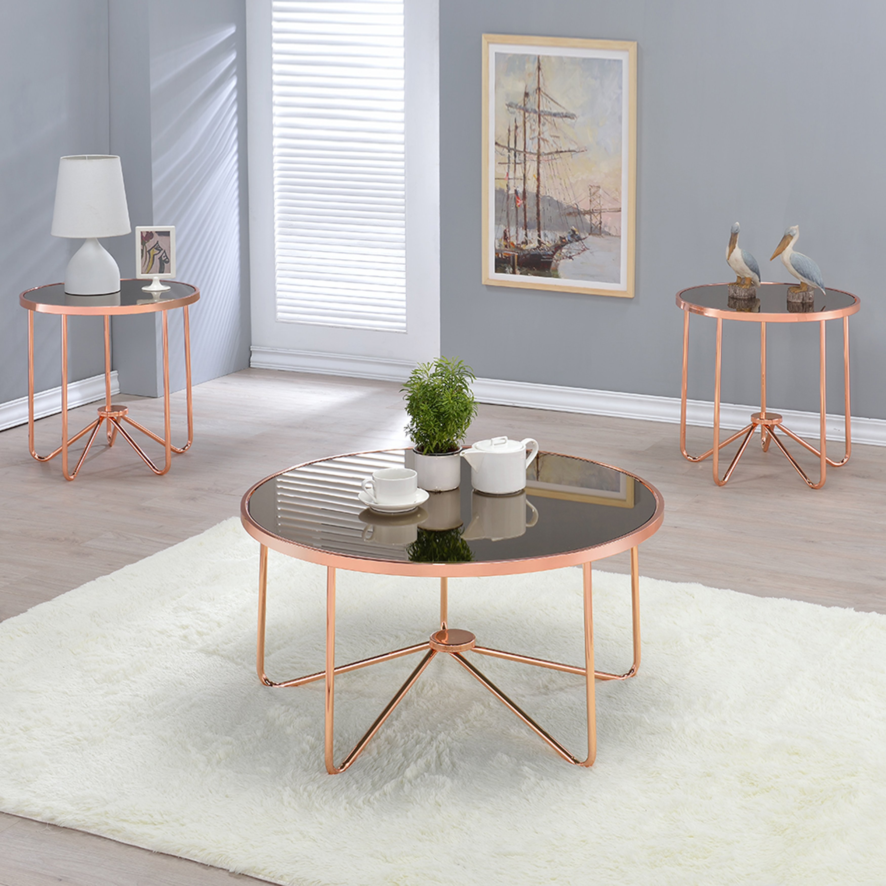 acme furniture alivia rose gold metal and glass accent tables table cherry dining room vintage wood side tall lamps rustic chic end antique mahogany groups white marble square