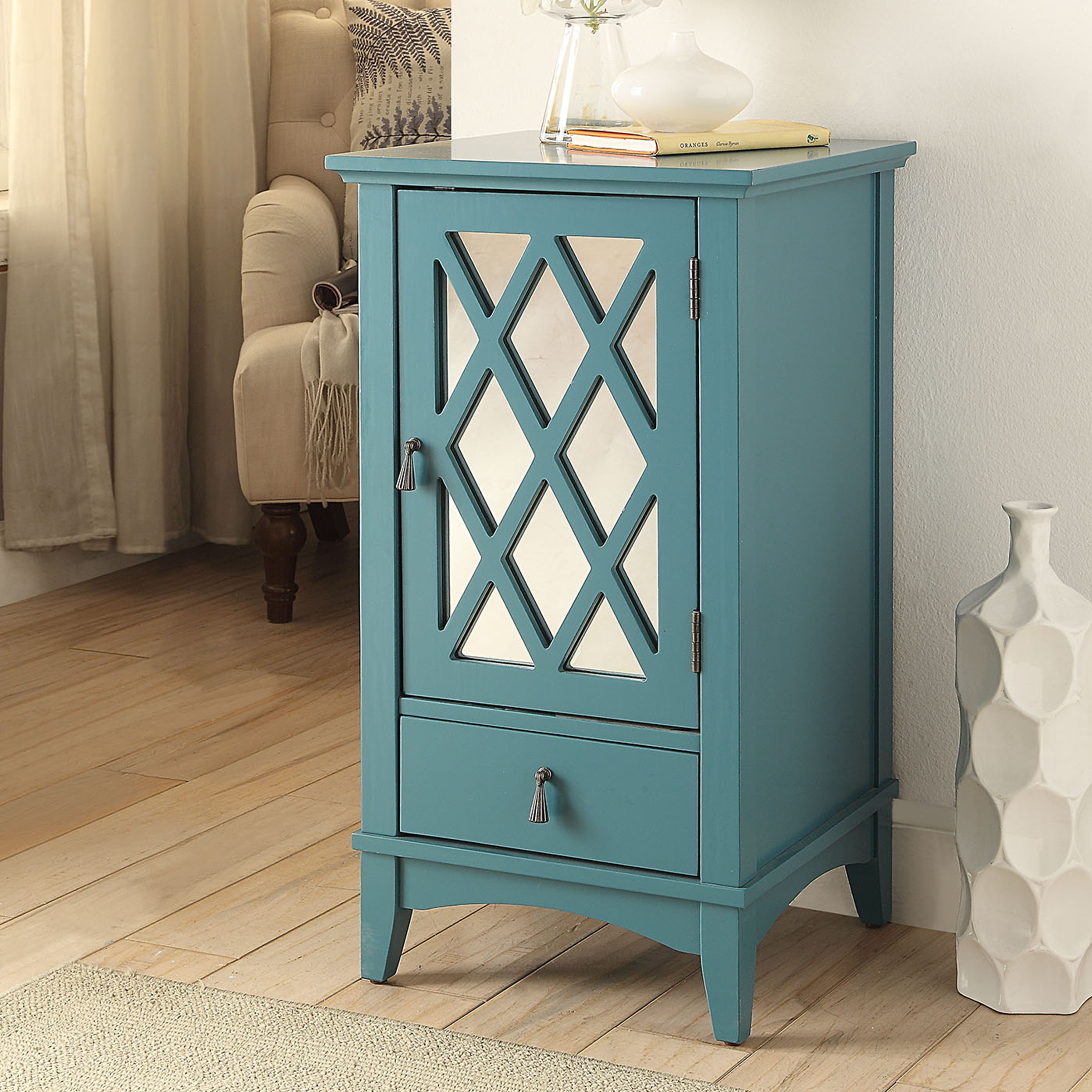 acme furniture ceara teal mirrored accent storage table free shipping today small kitchen counter lamps dale tiffany lighting blue oriental lamp bronze patio side outdoor battery