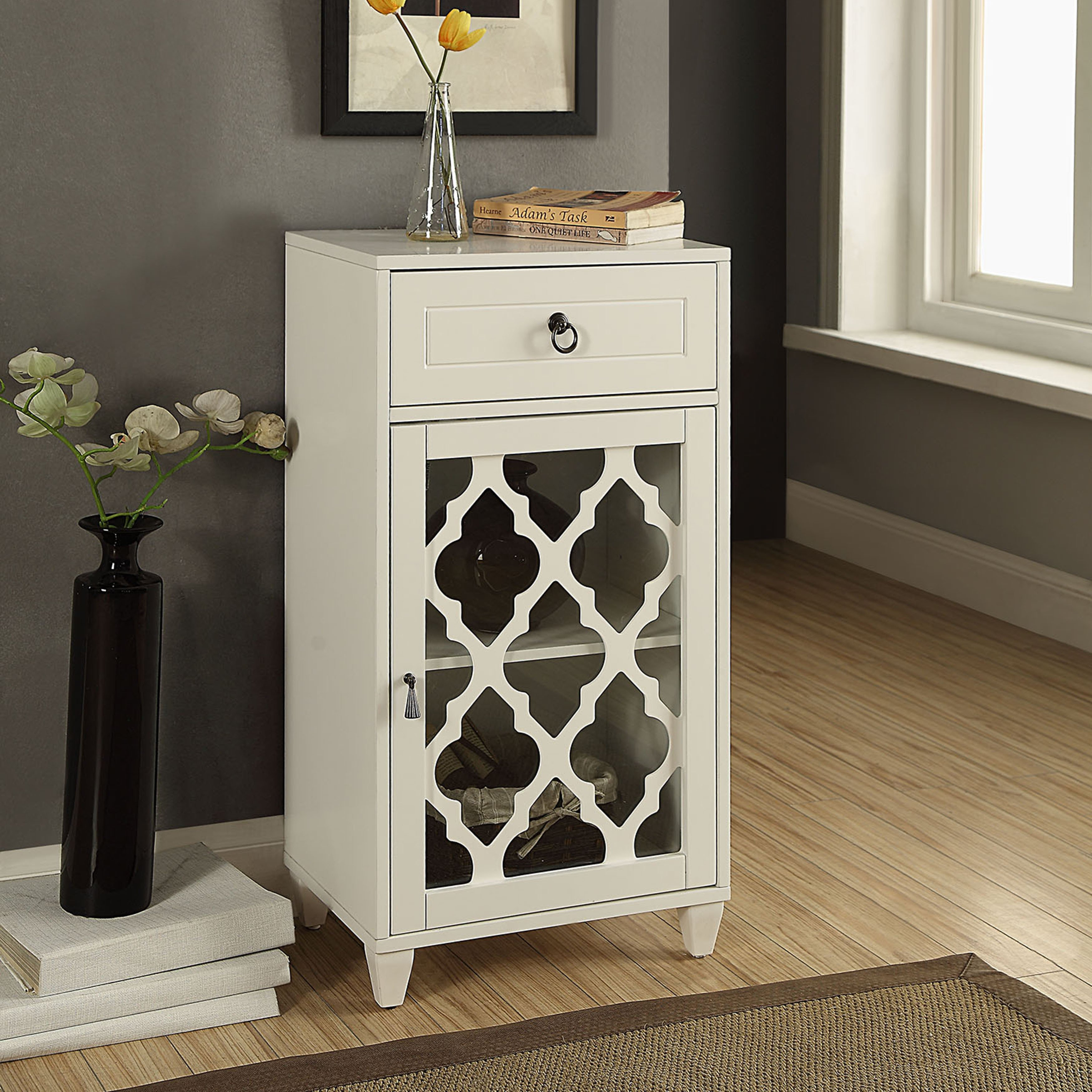 acme furniture ceara white mirrored accent storage table free shipping today metal accents for cream marble sea themed bedroom harveys dale tiffany lighting gold glass bedside