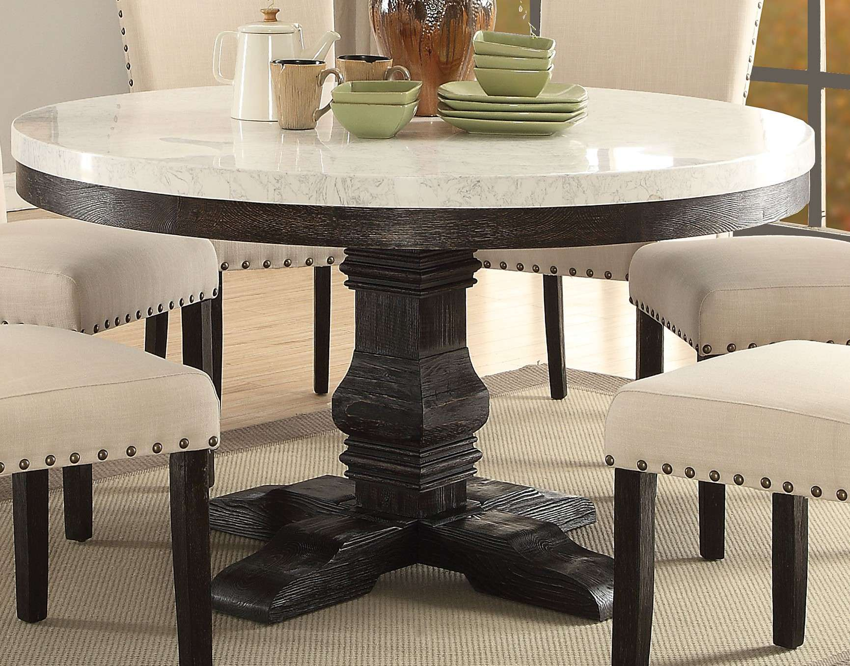 acme furniture nolan white marble weathered black round dining pedestal accent table with top coffee seater cover changing tables large wall clock small trestle solid oak bathroom