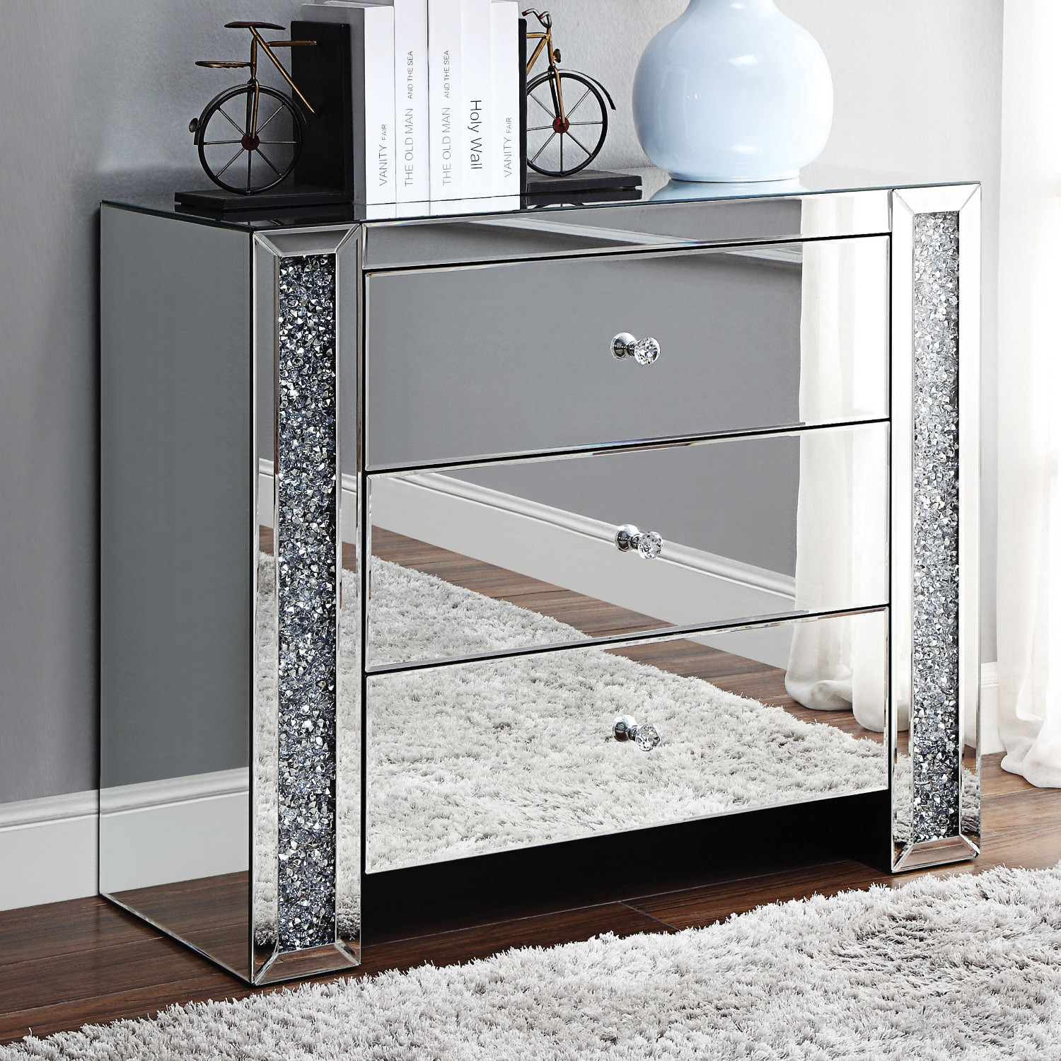 acme furniture noralie console table mirror faux diamonds diamond mirrored accent nautical themed lighting new home decoration tables small narrow round dining and chairs linens