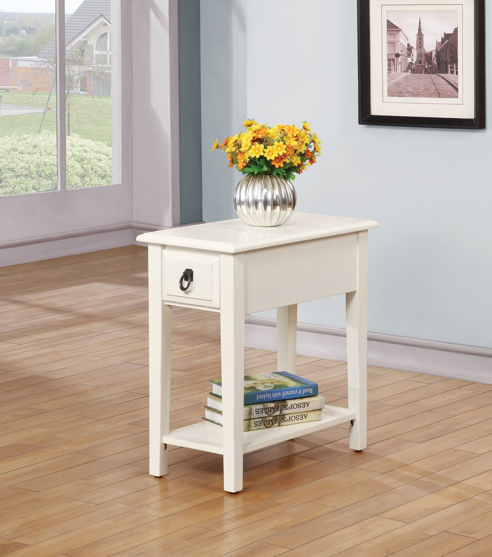 acme jeana side table white products target scalloped accent owings console shelf modern couches toronto small cherry wood grey chair mosaic patio umbrella black living essentials