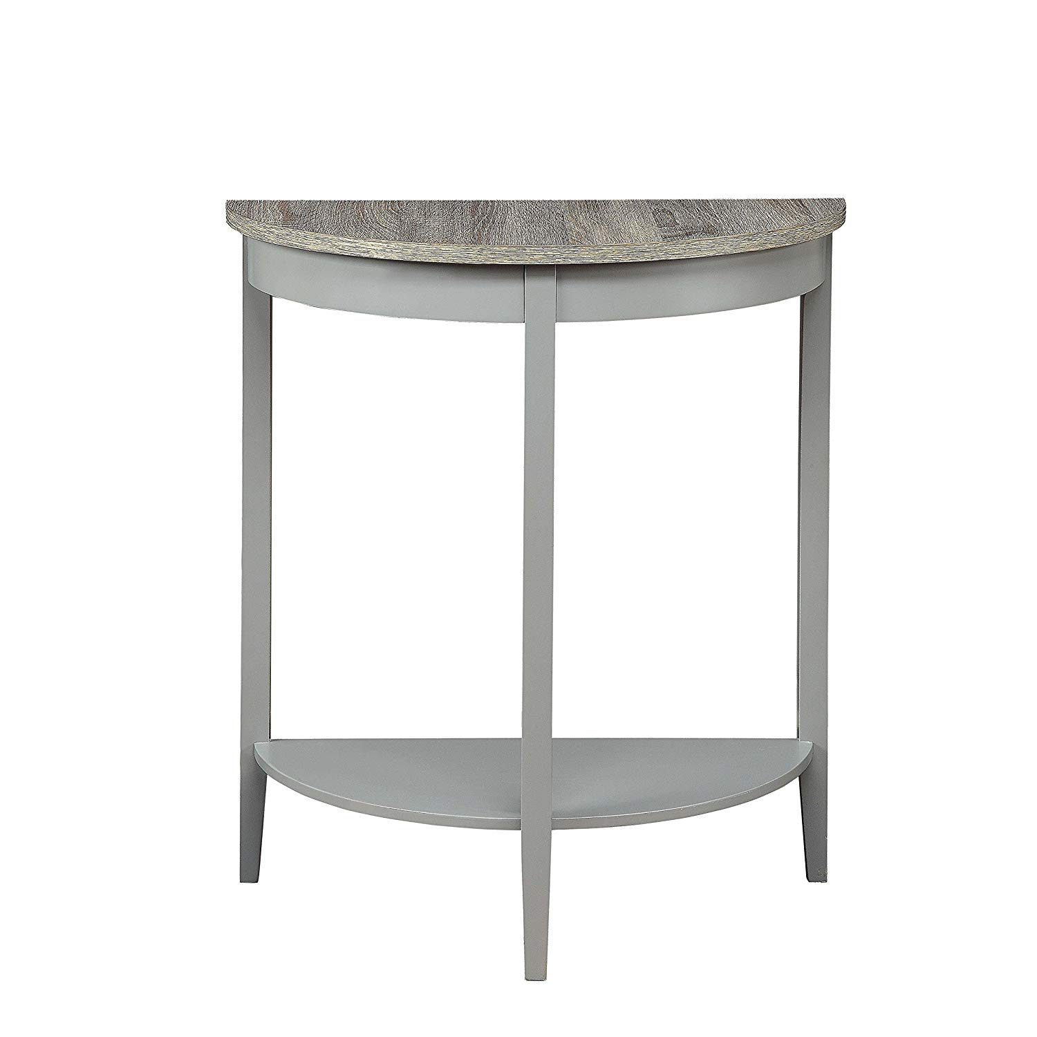 acme joey grey oak half moon console table small accent style top marble sofa mahogany hall wood painted svitlife kitchen dining plexiglass furniture tables white bedside lockers