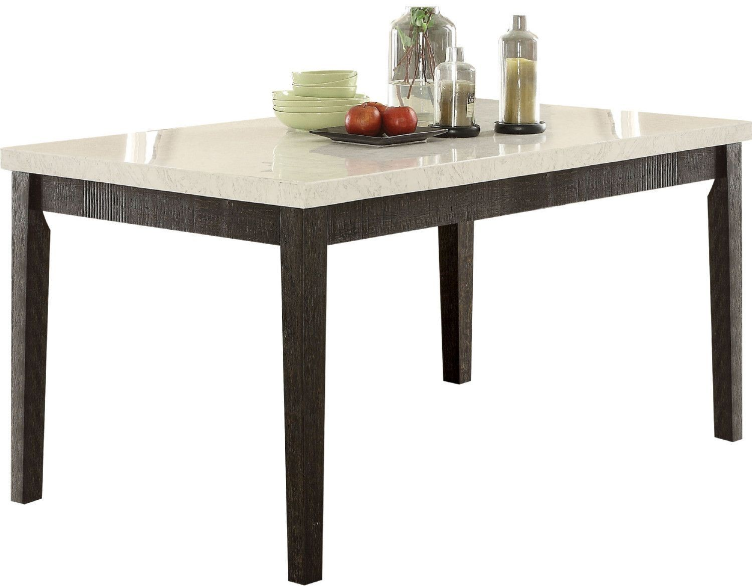 acme nolan white marble and salvage dark oak dining table pedestal accent wipeable tablecloth outdoor side plastic home office furniture chestnut antique square coffee basement