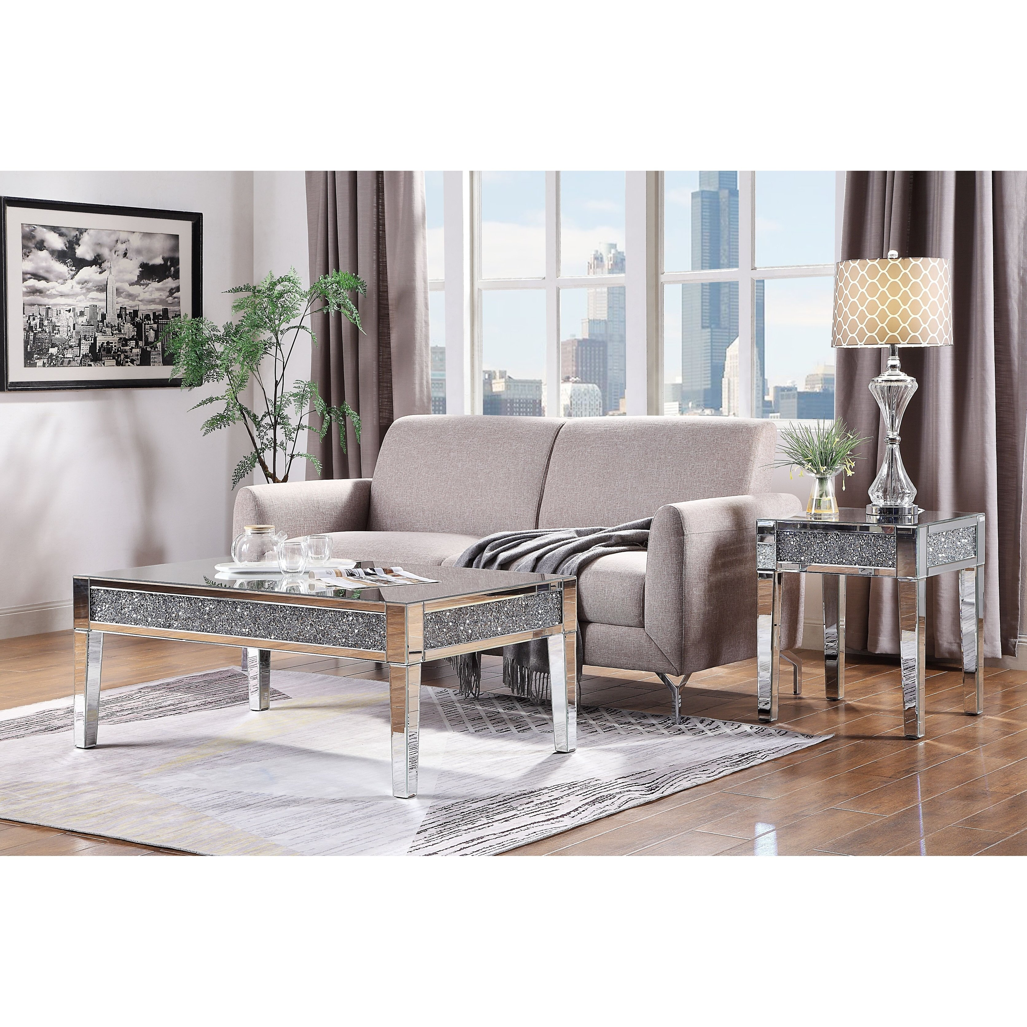 acme noralie coffee table mirrored and faux diamonds free diamond accent shipping today round wood metal home furniture design goods dressers cream asian inspired lamps ikea
