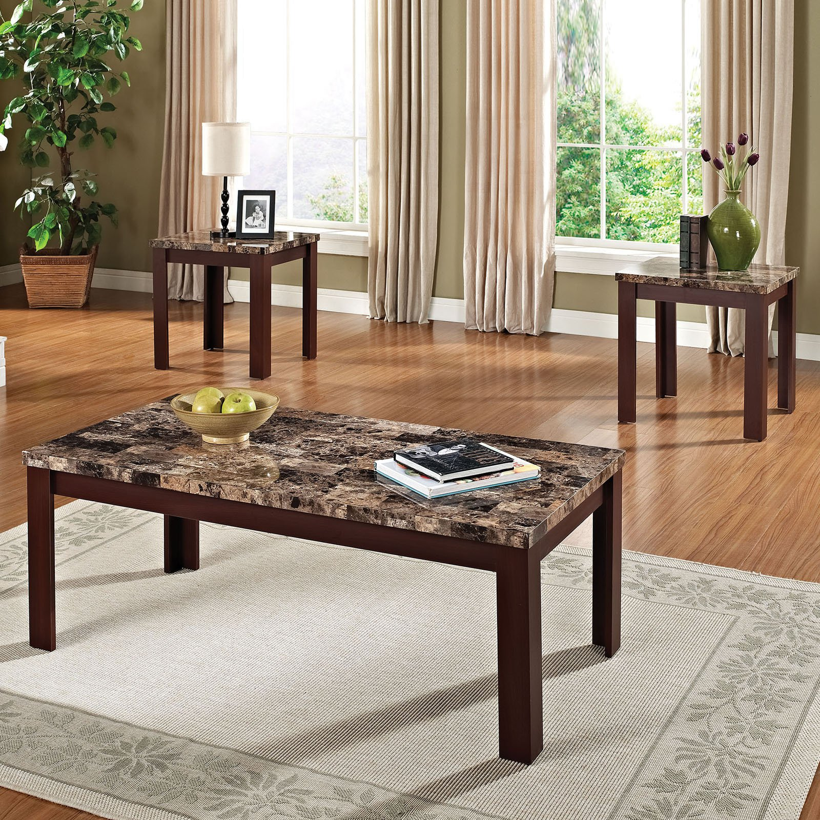 acme piece finely coffee and end table set dark brown faux marble accent black grey dining room chairs runner placemats battery run lamps white console old wood tables cream