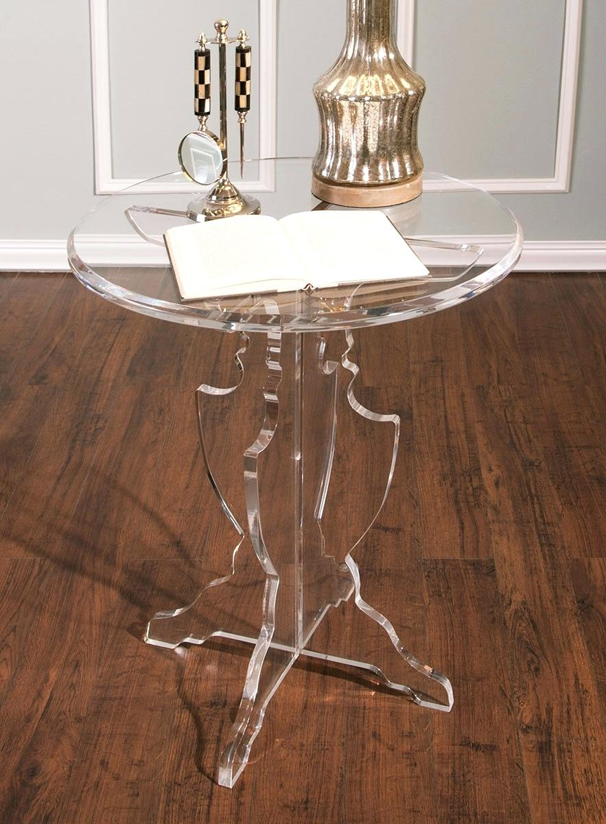 acrylic accent table columbiariverconcours prestige round clear zella short sofa outside storage containers mango dining kids drum throne counter height with bench tablecloth