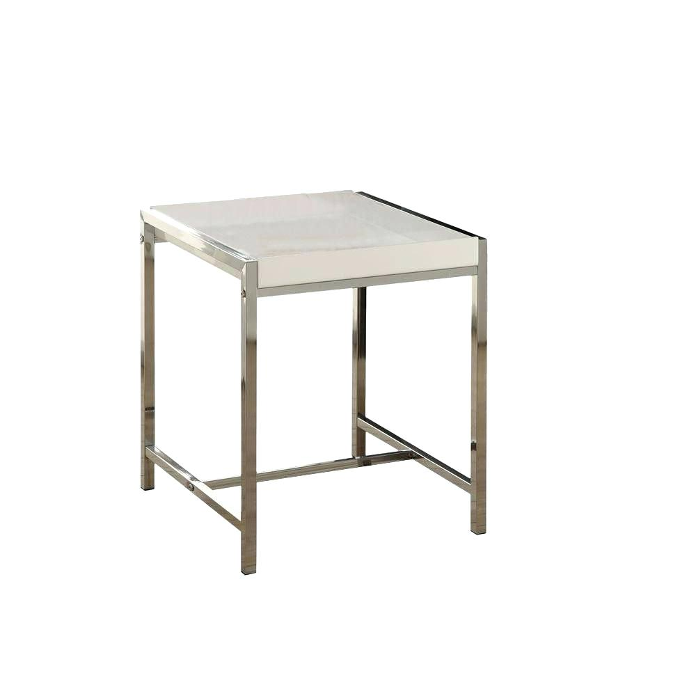 acrylic accent table monarch specialties white with chrome metal the small shape beach themed lighting bronze drum side ashley furniture trundle bedroom design backyard and chairs
