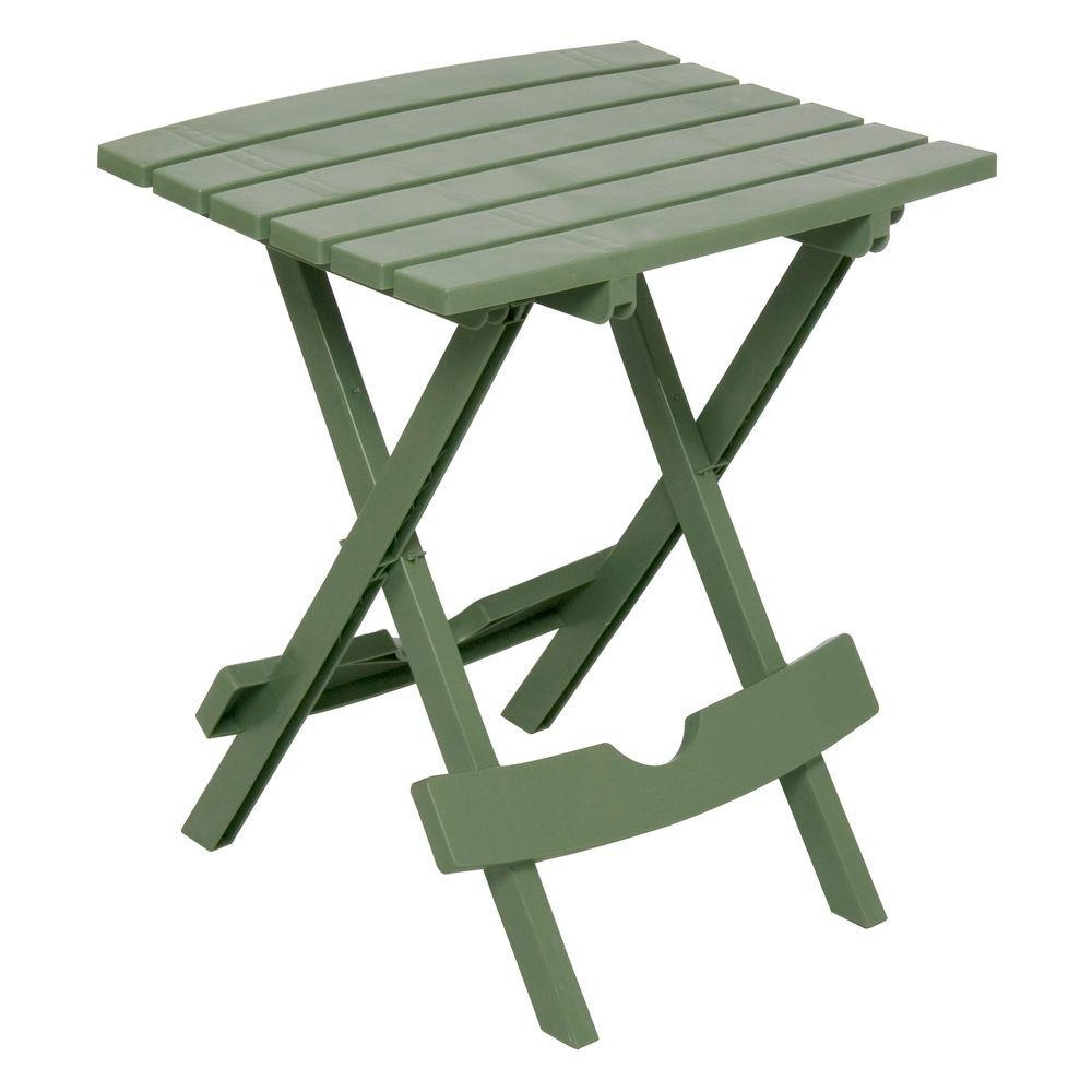 adams manufacturing quik fold sage resin plastic outdoor side table tables accent with tray basket drawers unique patio umbrellas gallerie pillows curtain wire target threshold
