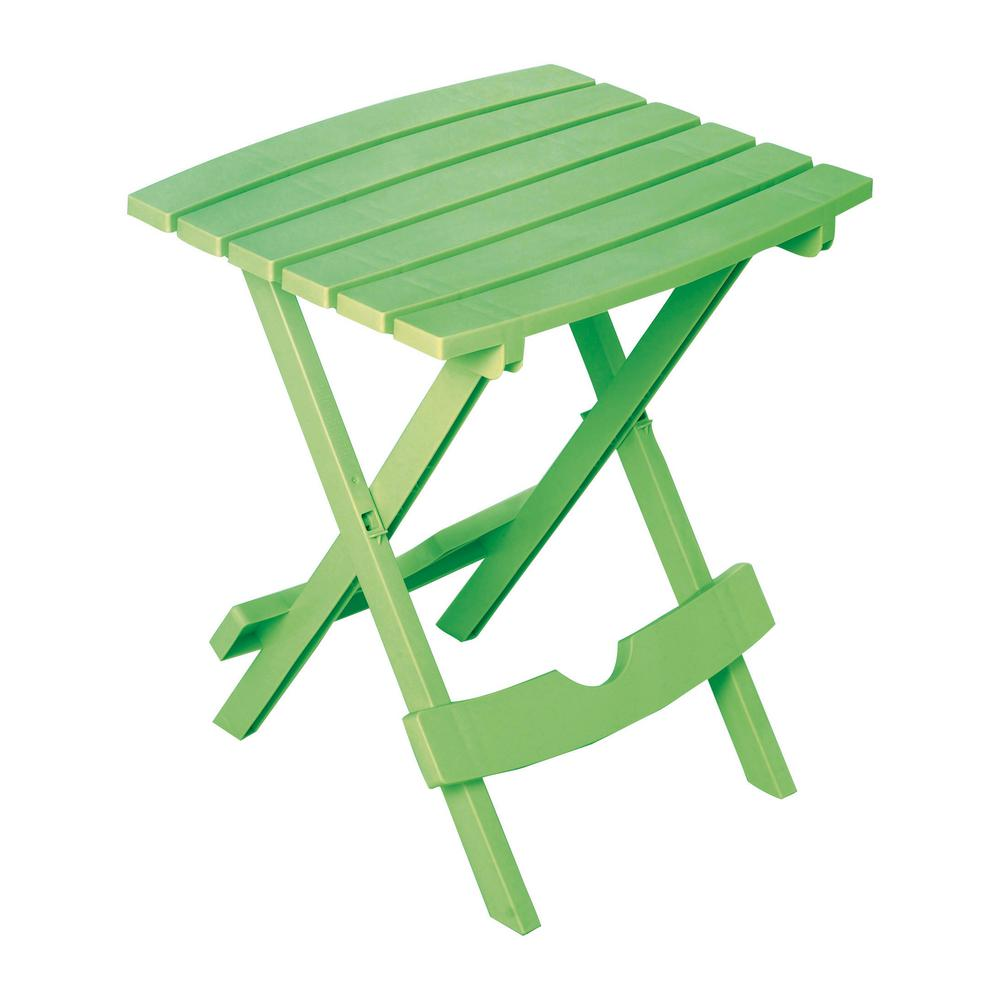 adams manufacturing quik fold summer green resin plastic outdoor side tables table small stackable garden coffee blue living room chairs high accent dining cherry corner inch