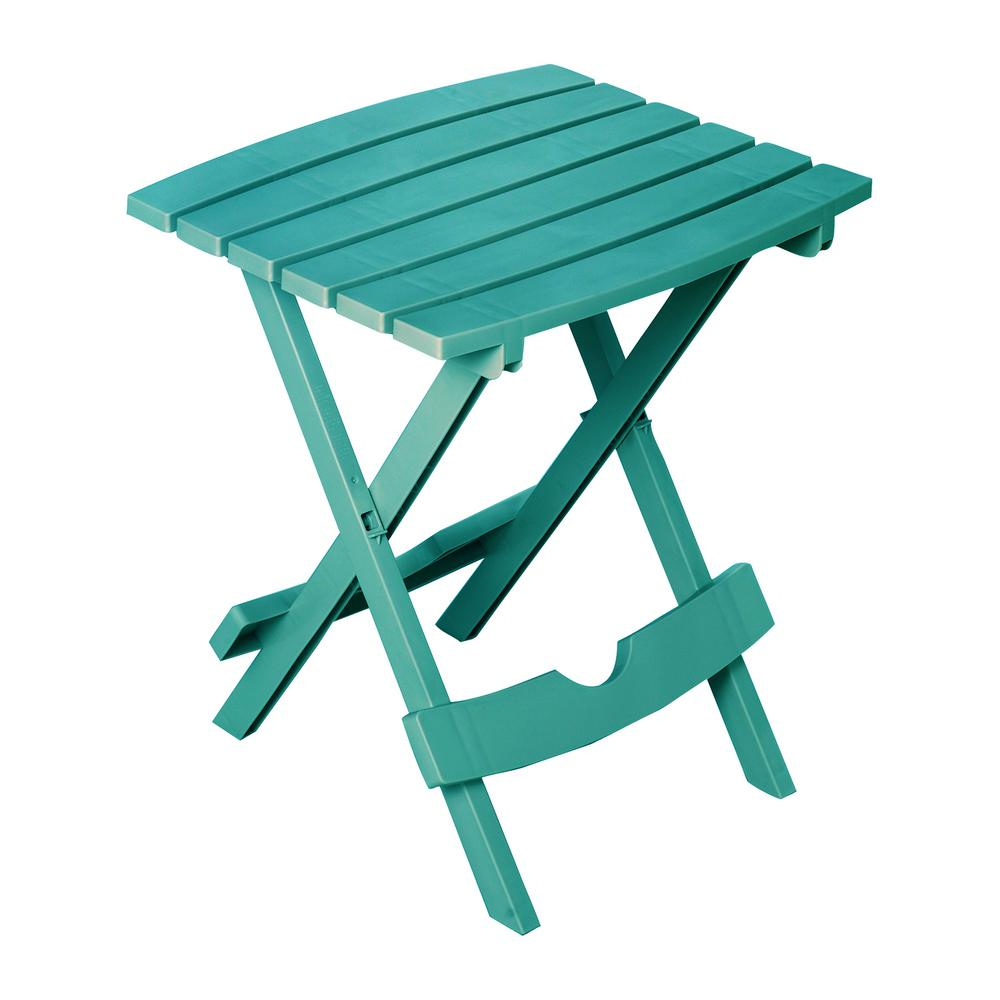 adams manufacturing quik fold teal resin plastic outdoor side table tables patio set marble top end target furniture moving pads crystal lamps for living room garden bench covers