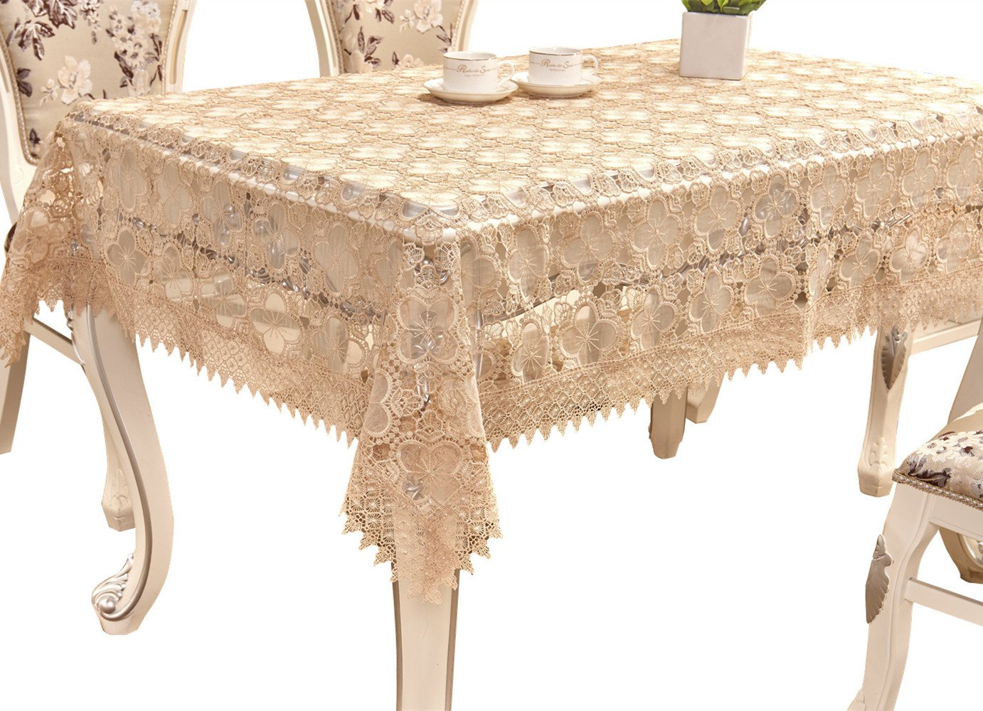adasmile lace tablecloth rectangle handmade crocheted accent table cover with flowers for tables party wedding light brown home shaped end antique nautical lights round entry hall