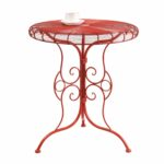 adeco accent round decorative end side table iron red furniture bellevue cube tables ikea coffee with folding sides inch skinny sofa small old wooden purple egg chair bunnings 150x150