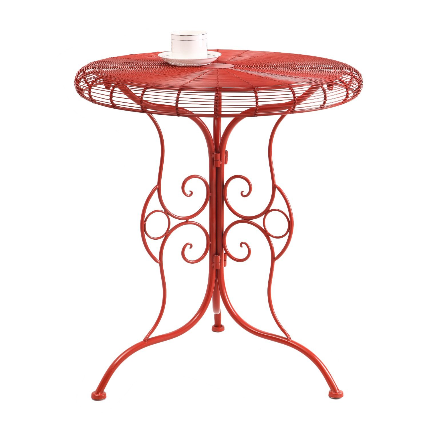 adeco accent round decorative end side table iron red furniture bellevue cube tables ikea coffee with folding sides inch skinny sofa small old wooden purple egg chair bunnings