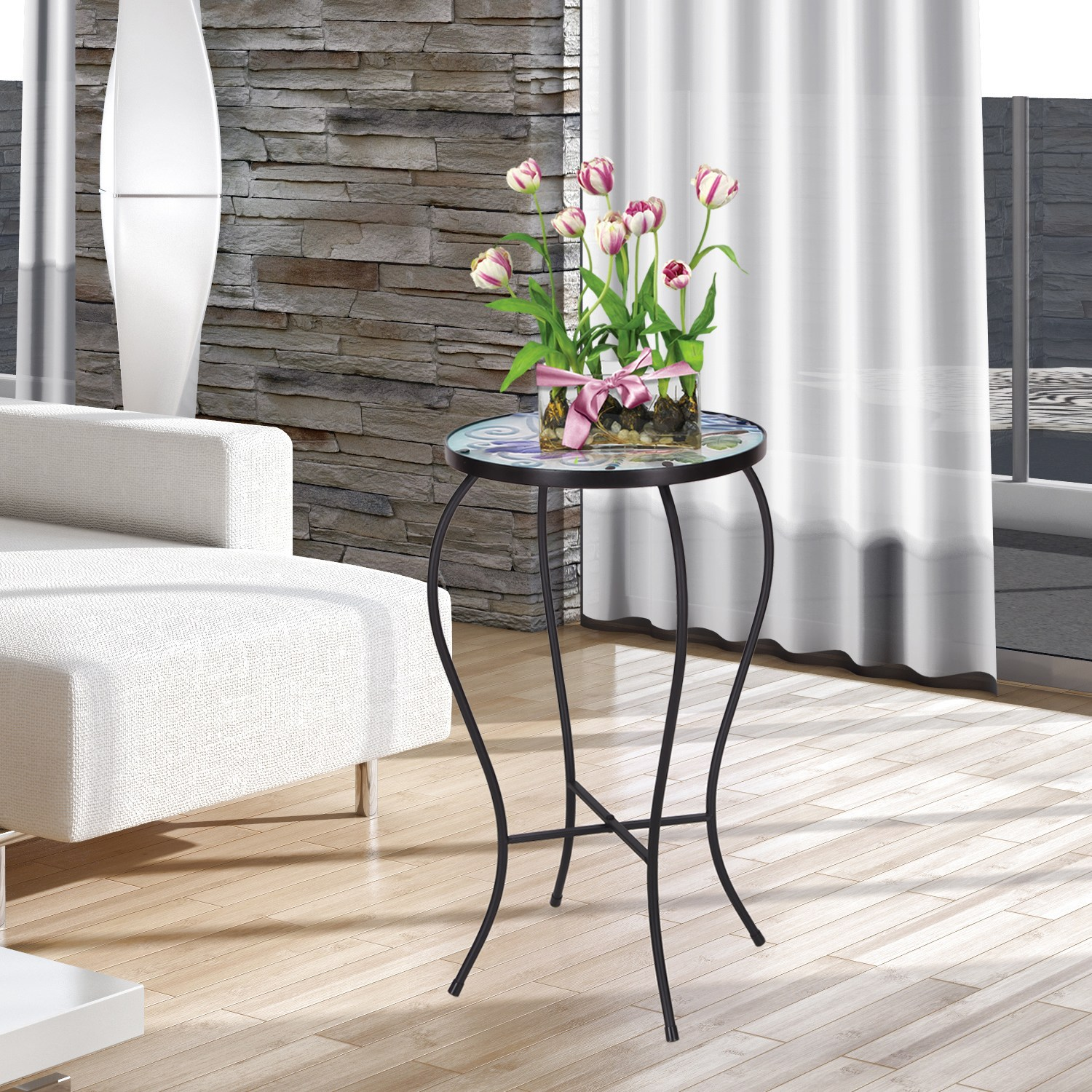 adeco contemporary round accent table plant stand free pink metal shipping today meyda lighting couch feet small kitchen and chairs set monarch hall console cappuccino dale