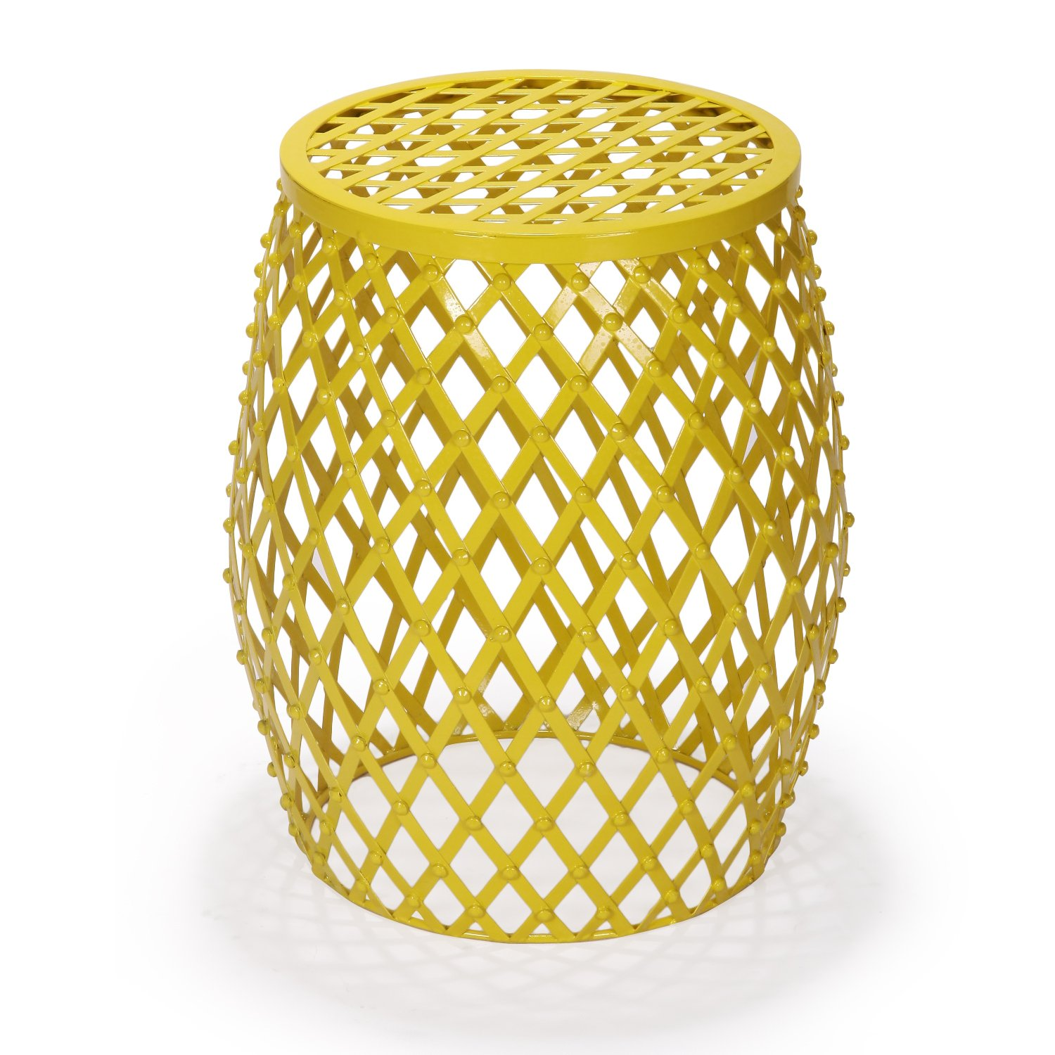 adeco home garden accent round iron metal stool side end table plant stand chair hatched diamond pattern for indoor outdoor bright yellow ikea childrens storage units ashley