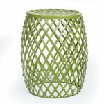 adeco home garden accents wire round iron metal stool accent table side end plant stand hatched diamond pattern for indoor outdoor olive drab green moroccan ikea square shelves 150x150