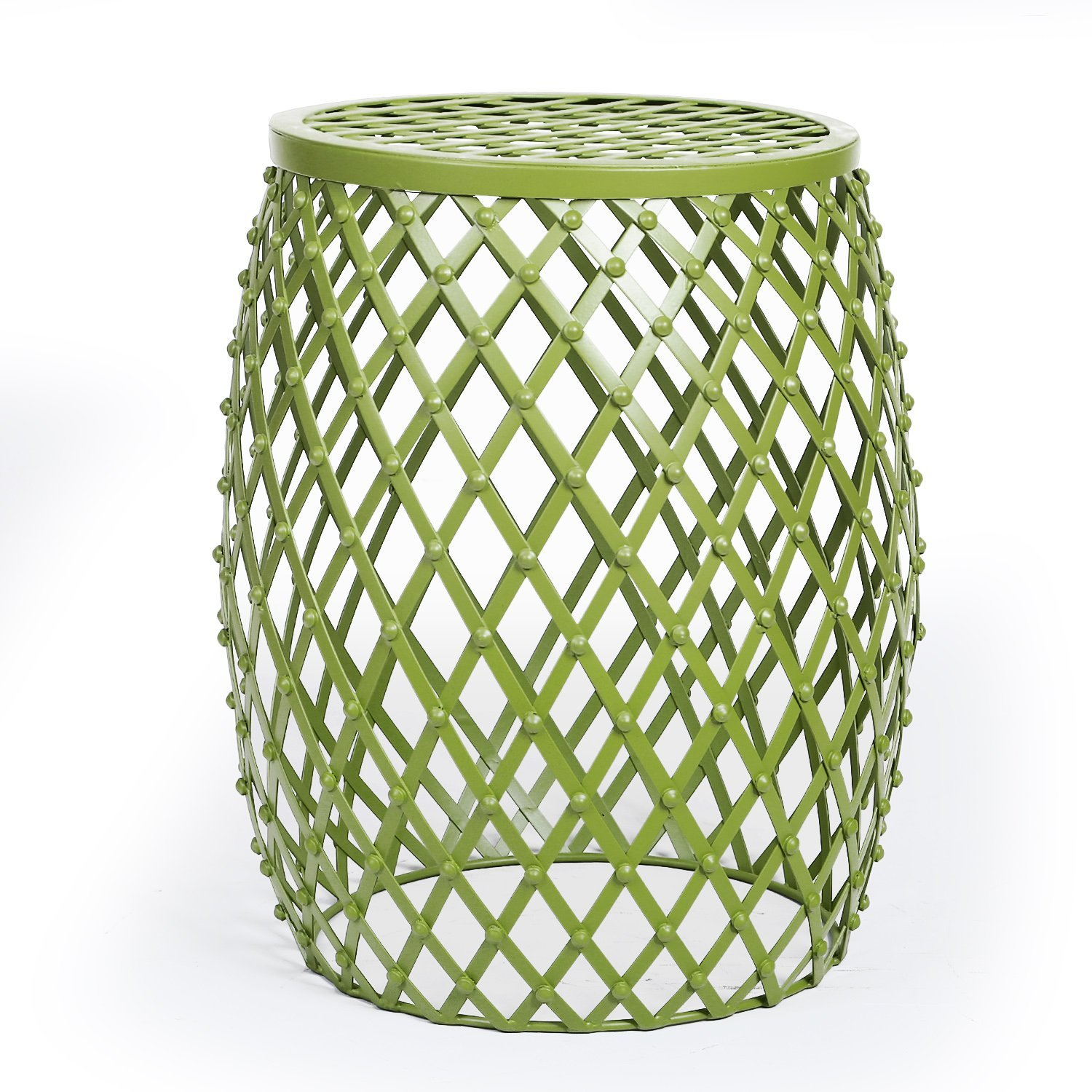 adeco home garden accents wire round iron metal stool accent table side end plant stand hatched diamond pattern for indoor outdoor olive drab green moroccan ikea square shelves