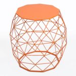 adeco home garden accents wire round iron metal stool accent table side plant stand chair hatched diamond pattern for indoor orange red kitchen white and brown end large antique 150x150
