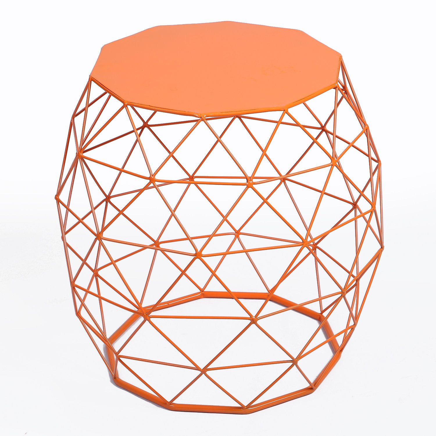 adeco home garden accents wire round iron metal stool accent table side plant stand chair hatched diamond pattern for indoor orange red kitchen white and brown end large antique