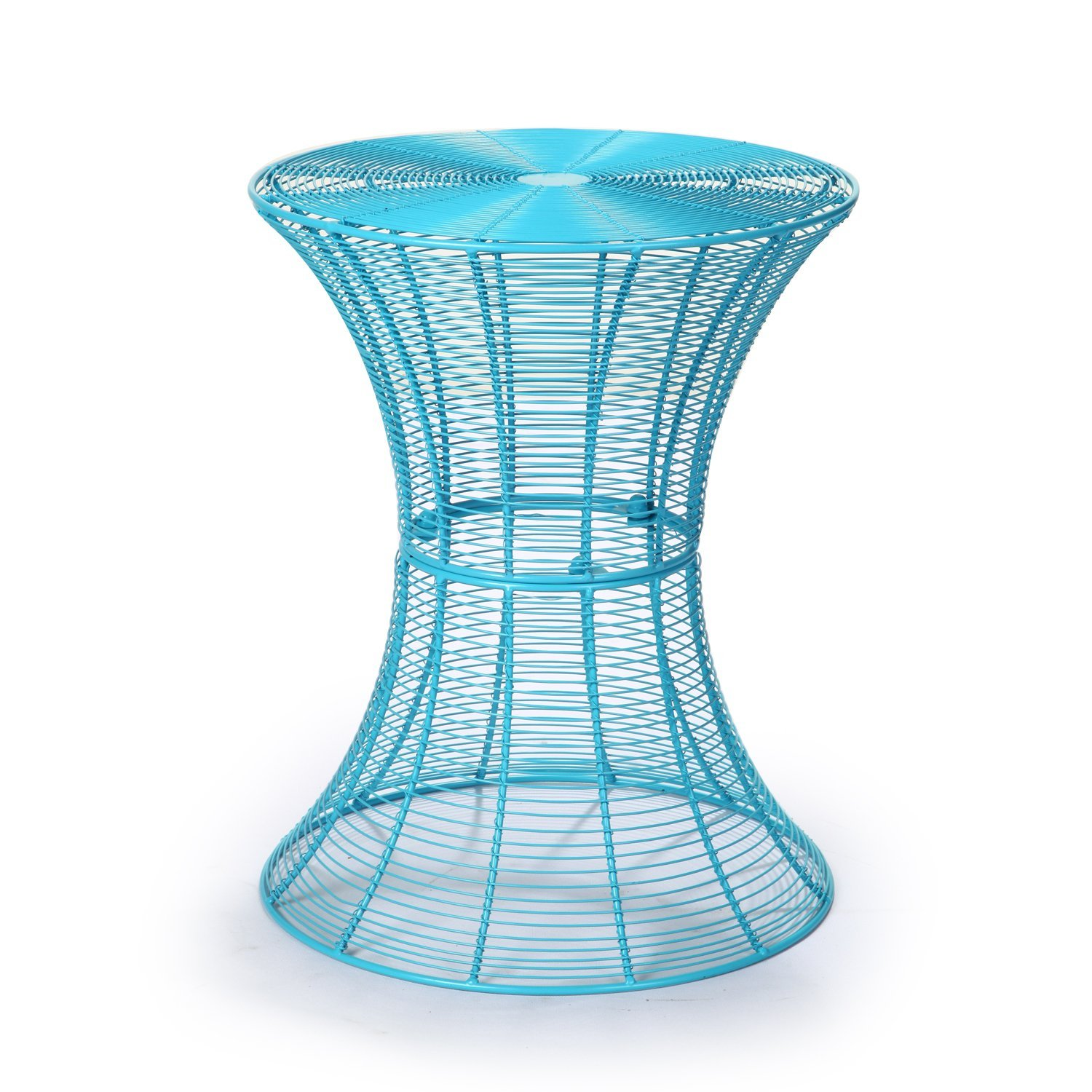 adeco round hourglass end side table iron sky blue outdoor accent nautical lamps burgundy runner luau cupcakes stackable snack tables room essentials stacking patio furniture