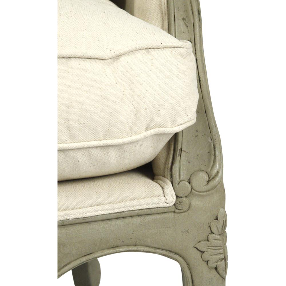adele french country distressed sage green and white settee loveseat product accent tables full size dale tiffany amber mosaic table lamp high dining room chairs concrete wood