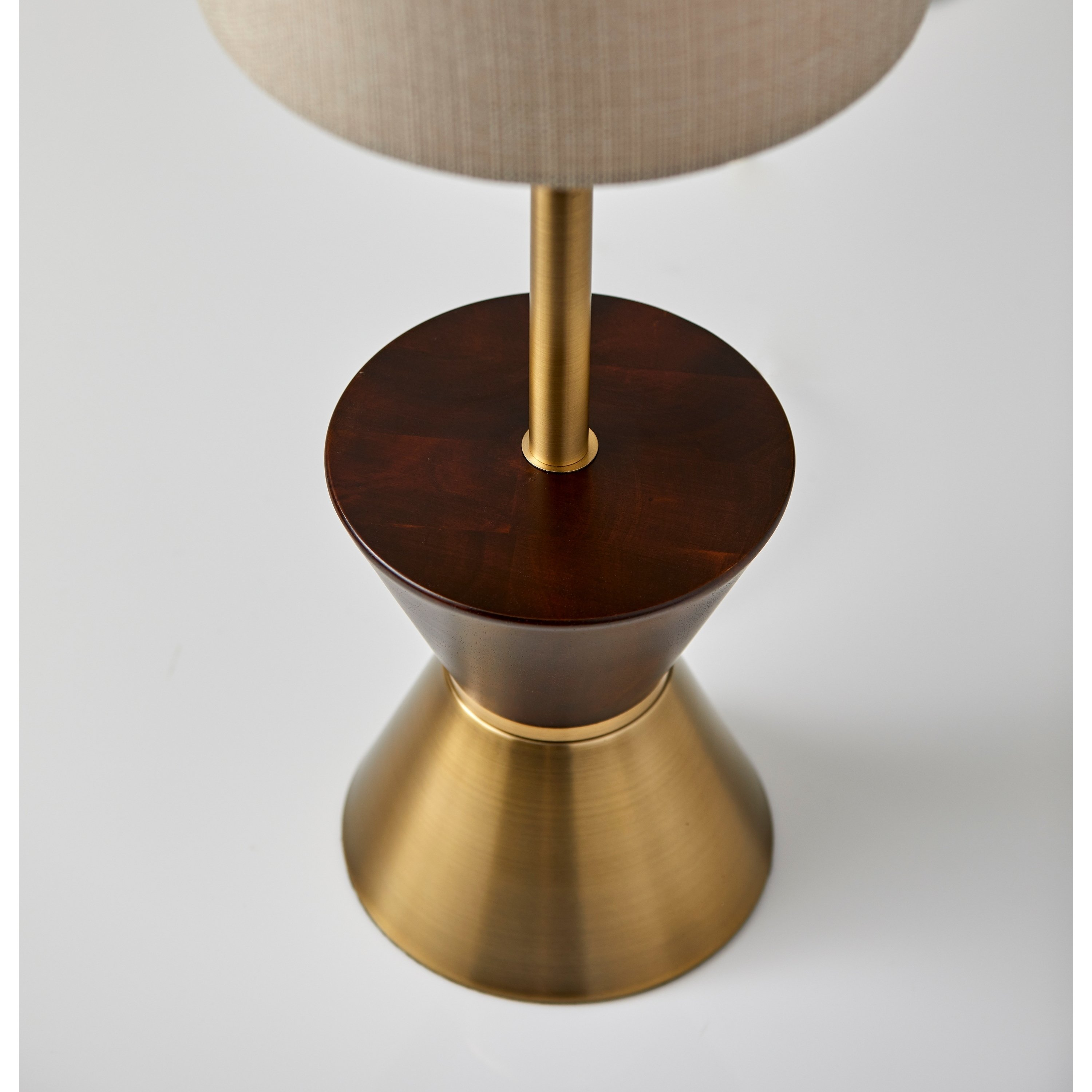 adesso antique brass and walnut rubberwood carmen table lamp metal accent free shipping today replica eames dining modern classic furniture reproductions indoor nautical wall