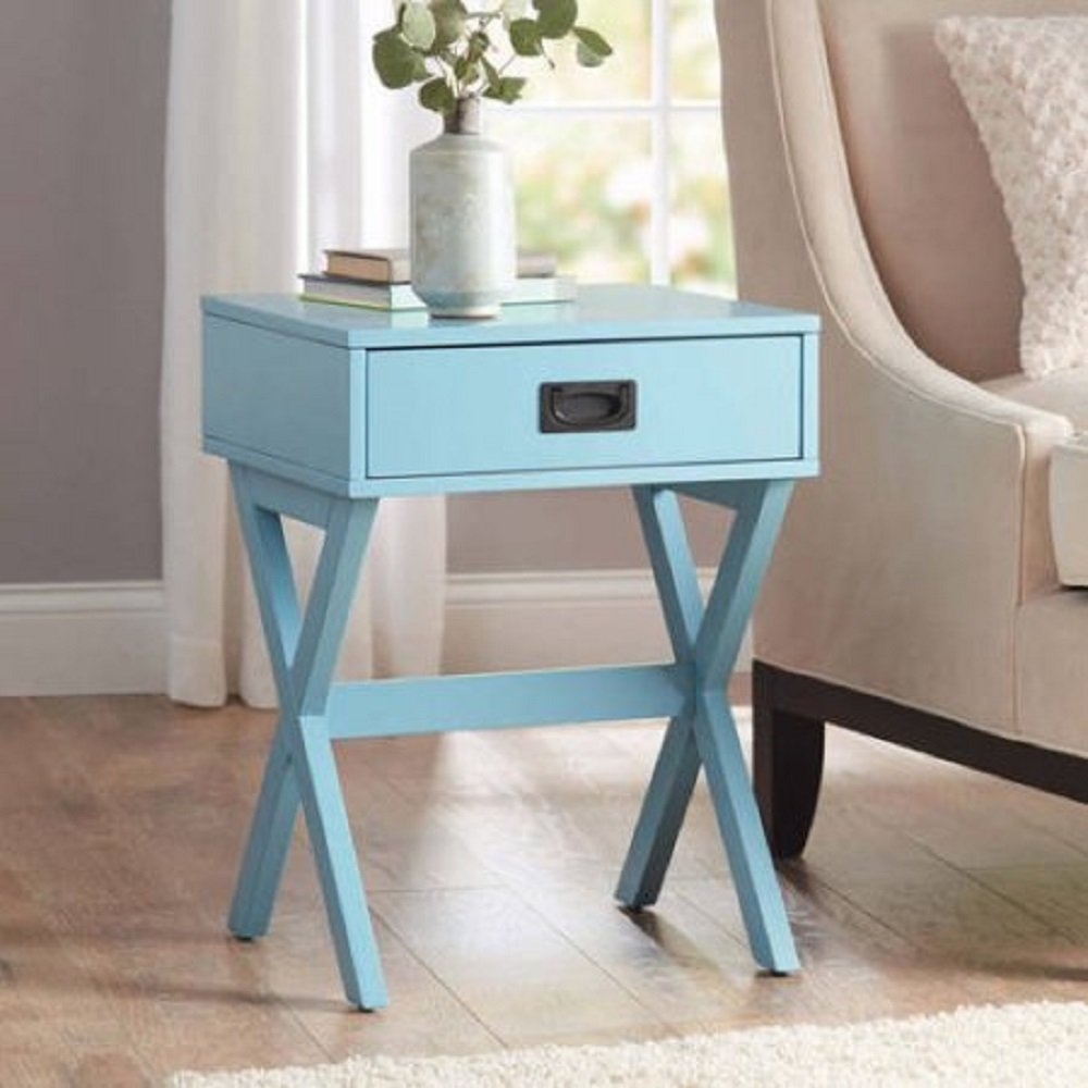 affordable yet stylish leg accent table with one drawer functional storage teal kitchen dining narrow console inches deep bathroom furniture small outdoor patio corner