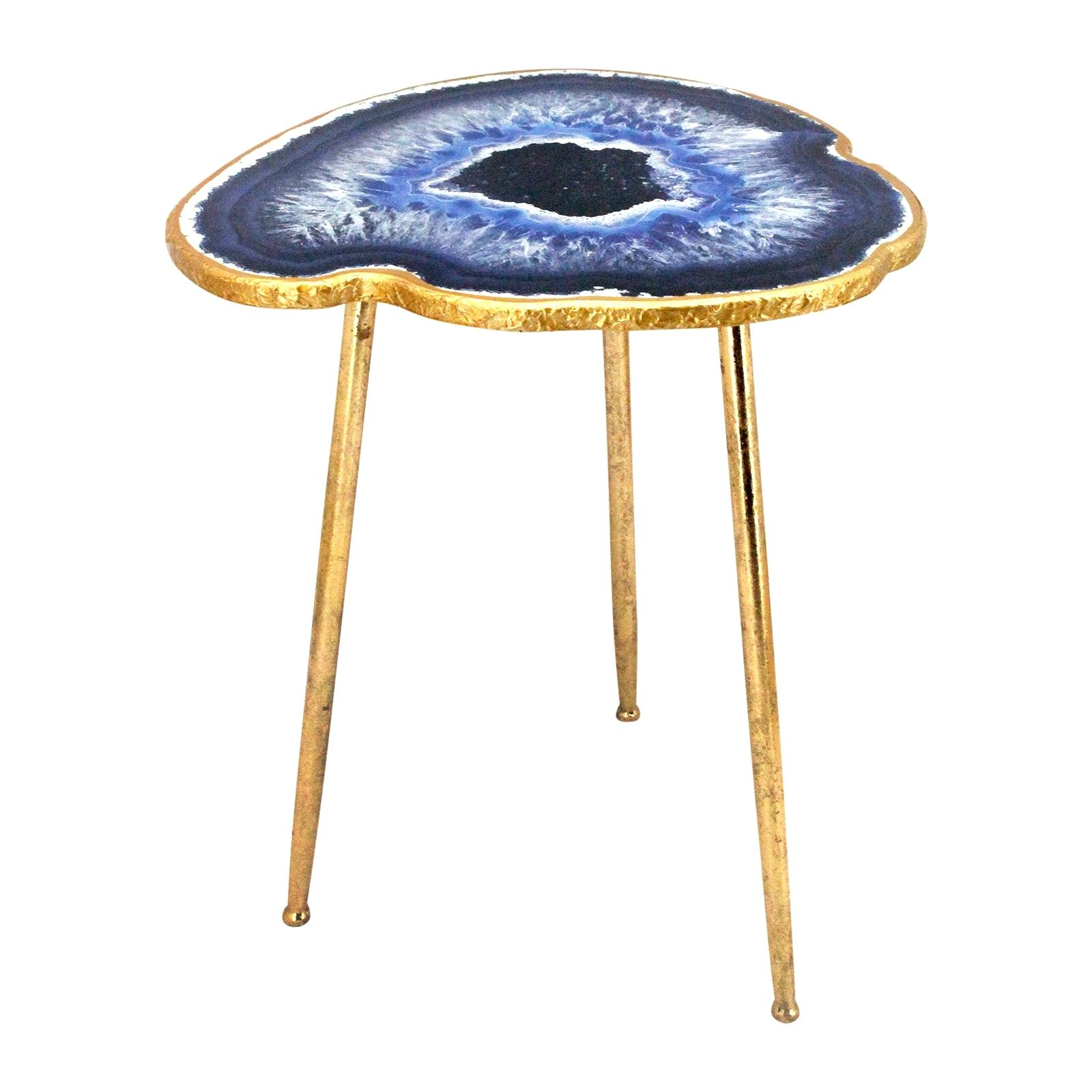 agate accent table gold and blue metal threshold glass faux plexiglass coffee top tablecloth for inch round lounge chairs end with charging station high tables dale tiffany