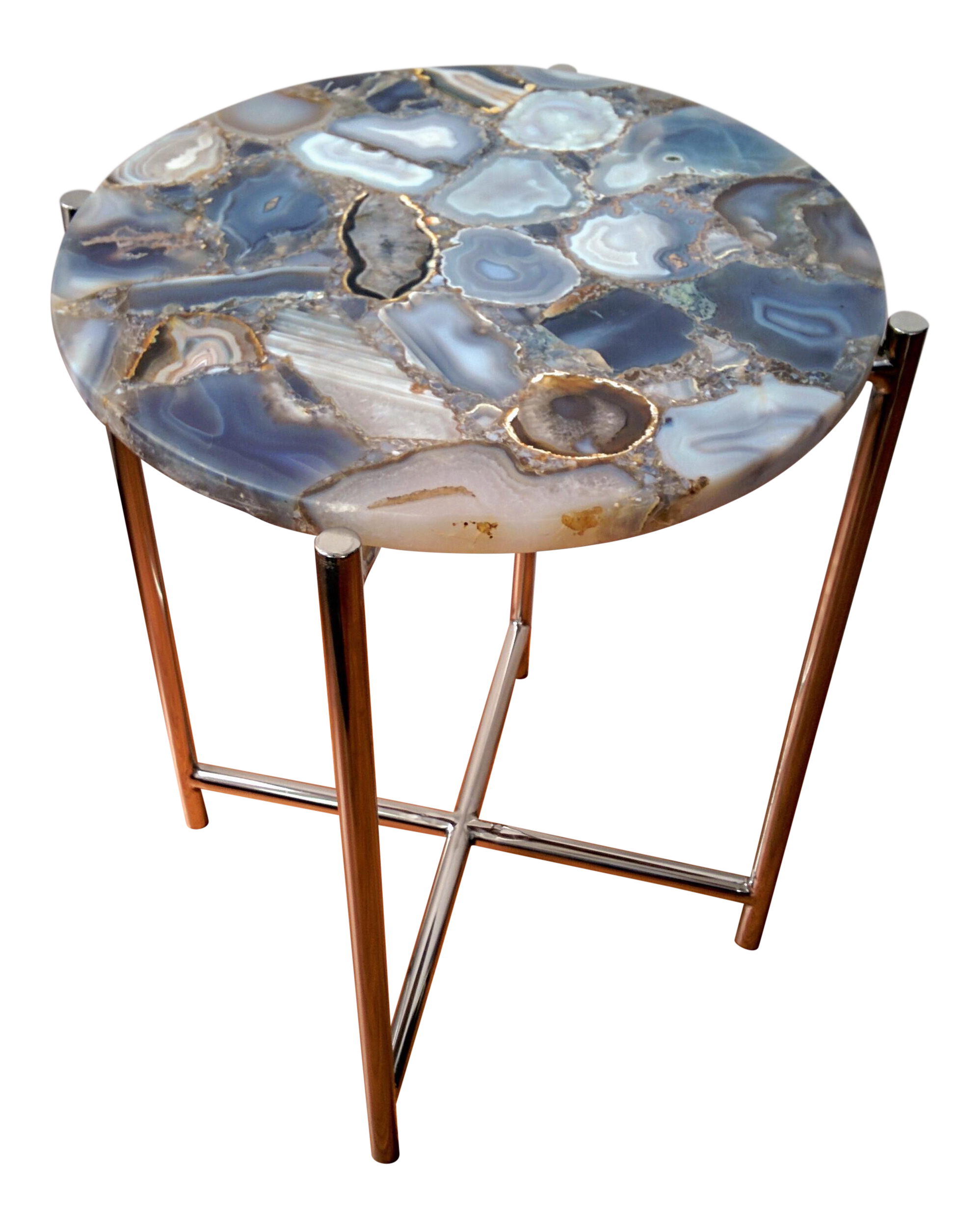 agate chrome side table chairish and glass accent tablecloth for inch round decorations square clear coffee wardrobe furniture animal print chair walnut black target top metal