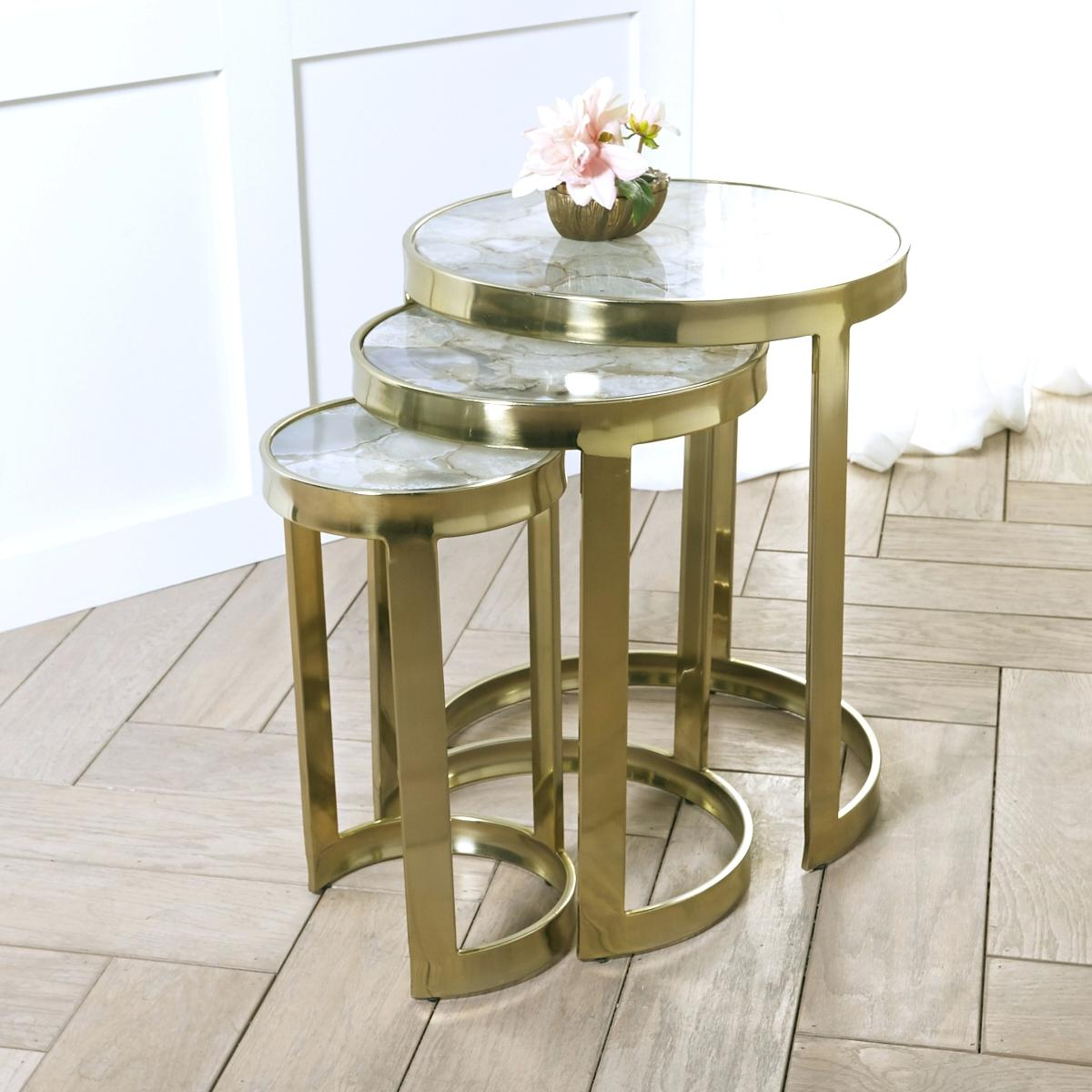 agate end table white natural round side with nickel wisteria nesting tables set top delhi accent wooden garden marble dining room leather sectional large tilting patio umbrella