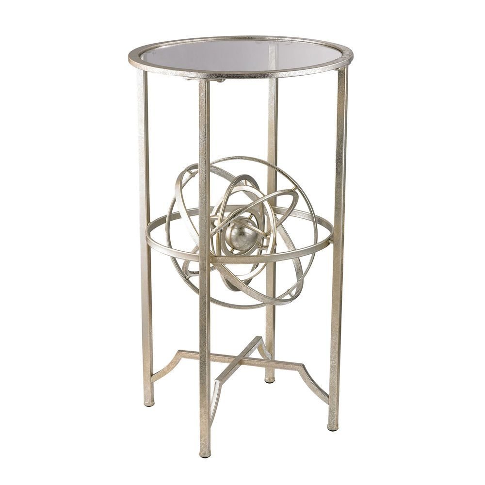 aged silver accent table with antique armillary sphere glass top finishengineering science meet single barn door black marble end tables grey recliner pub dining set round outdoor