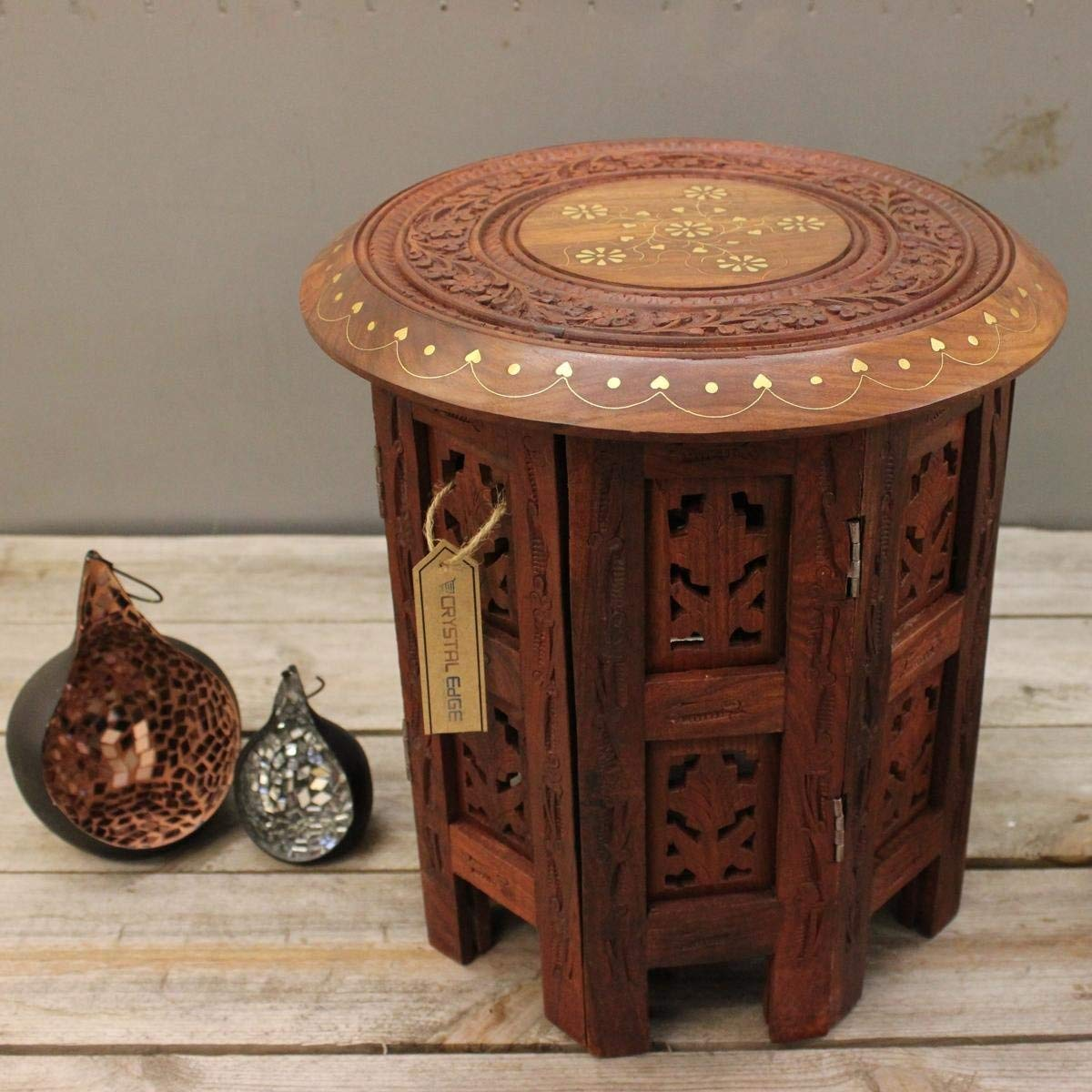 ahar small side table wooden round hand carved wood inlay accent and brass kitchen dining trestle garden parasol base pier one coupon code ikea fabric storage console set tall end