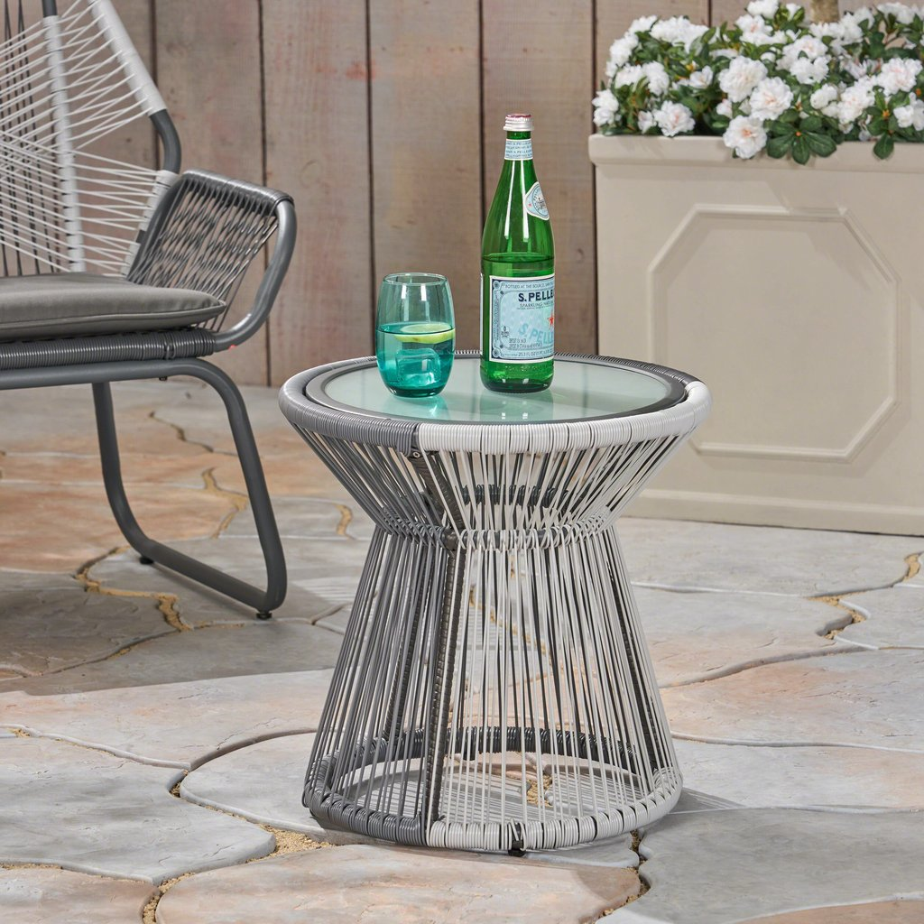 aiden outdoor wicker side table with glass top gray and white gdf studio ikea garden chairs bbq built short sofa bronze coffee breakfast bar stools ashley furniture vennilux the