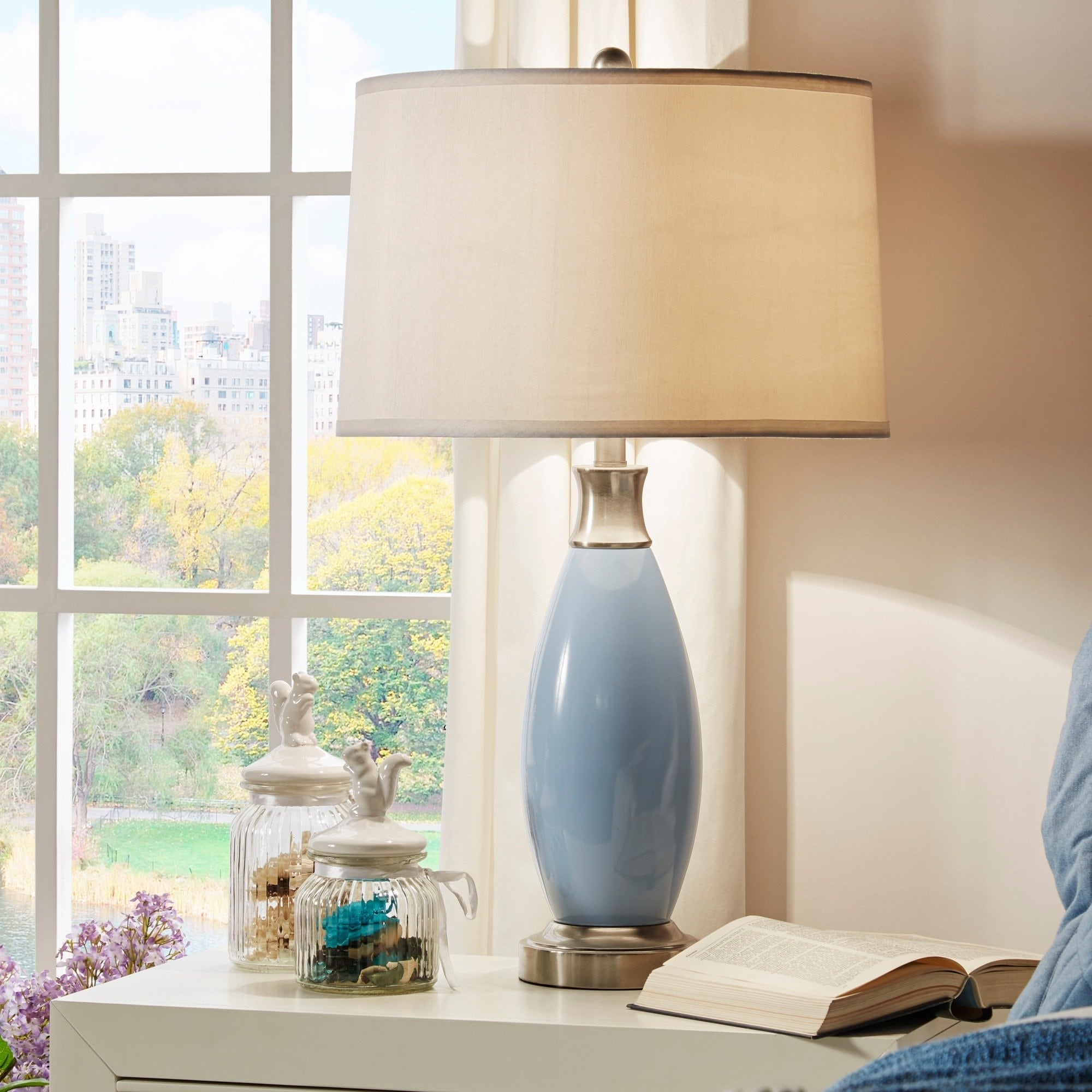 ajax blue metal light accent table lamp inspire classic free shipping today clear acrylic chairs solid marble side ikea narrow end large round linen tablecloths chest for living