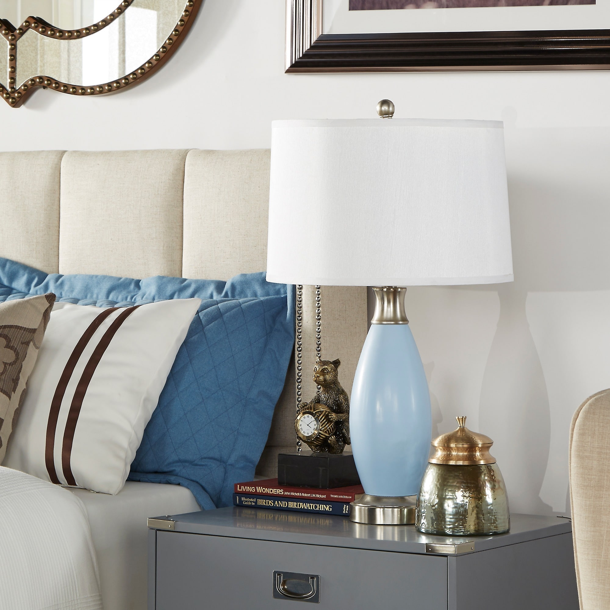 ajax blue metal light accent table lamp inspire classic free shipping today west elm floor cushion dark bedside tables distressed modern clock outside patio furniture holiday