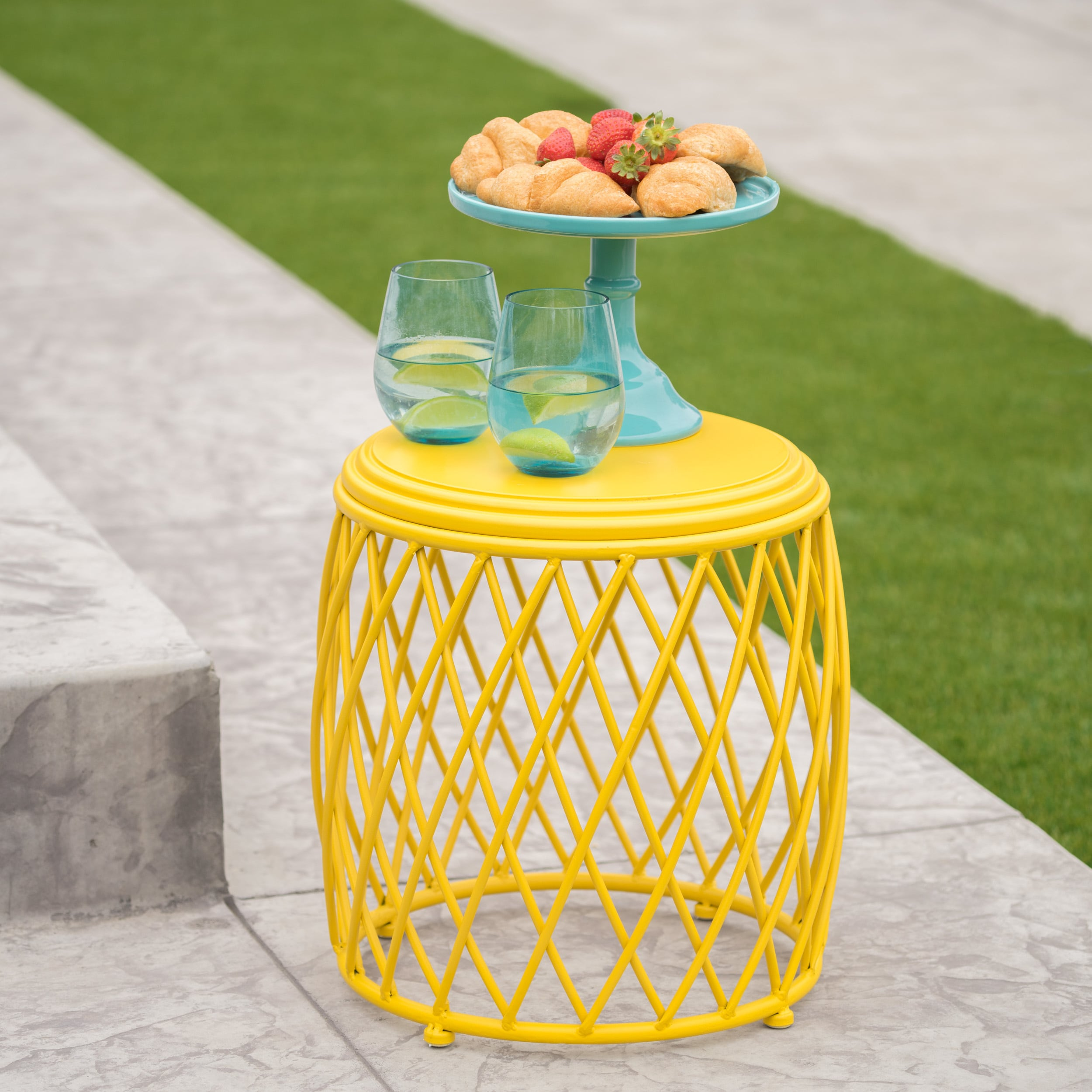 alamera outdoor inch lattice side table christopher knight home yellow free shipping today grey washed end tables wrought iron with glass tops turquoise entry portable maroc