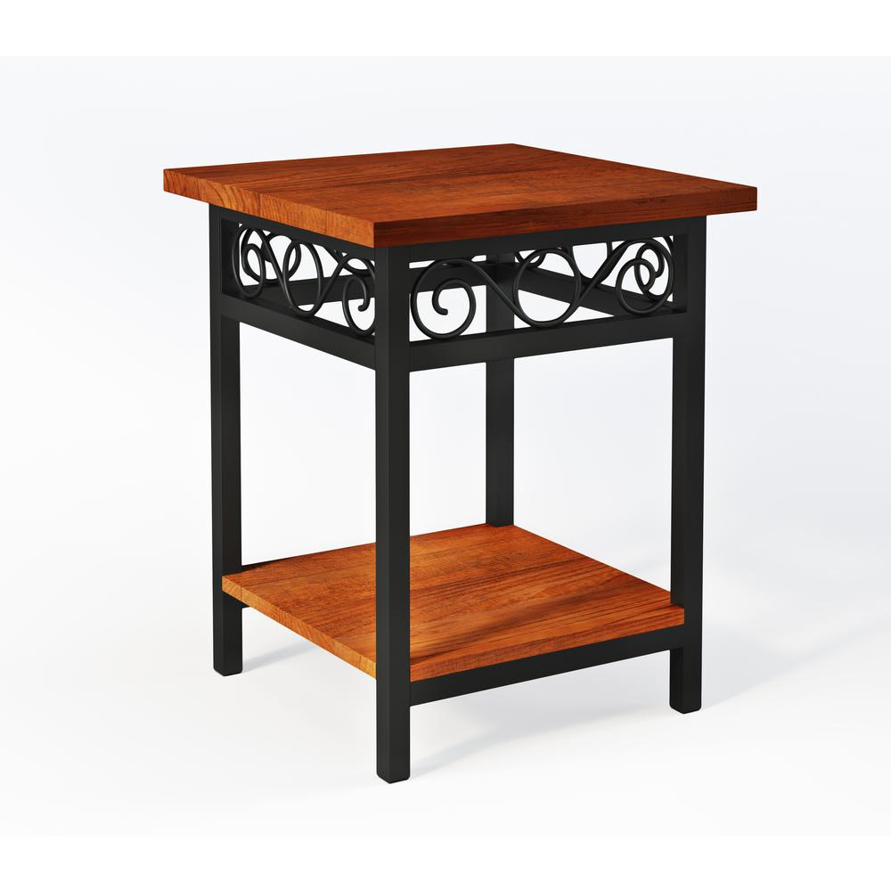 alaterre furniture artesian brown scrollwork round end table with tables chestnut accent finish top lift coffee patio and chairs keter beer cooler ikea kids room storage home