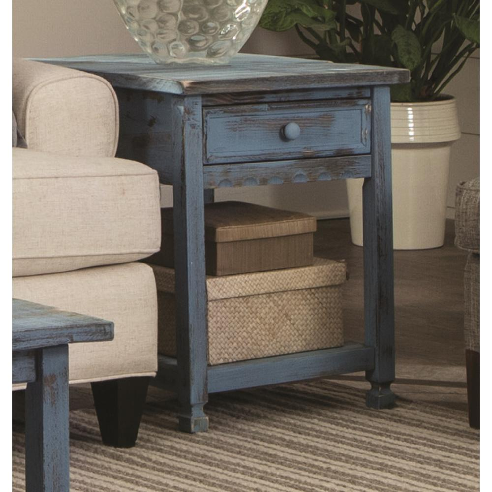 alaterre furniture country cottage rustic blue antique end table tables distressed accent white and gold nightstand battery powered lights piece living room set vita silvia brown