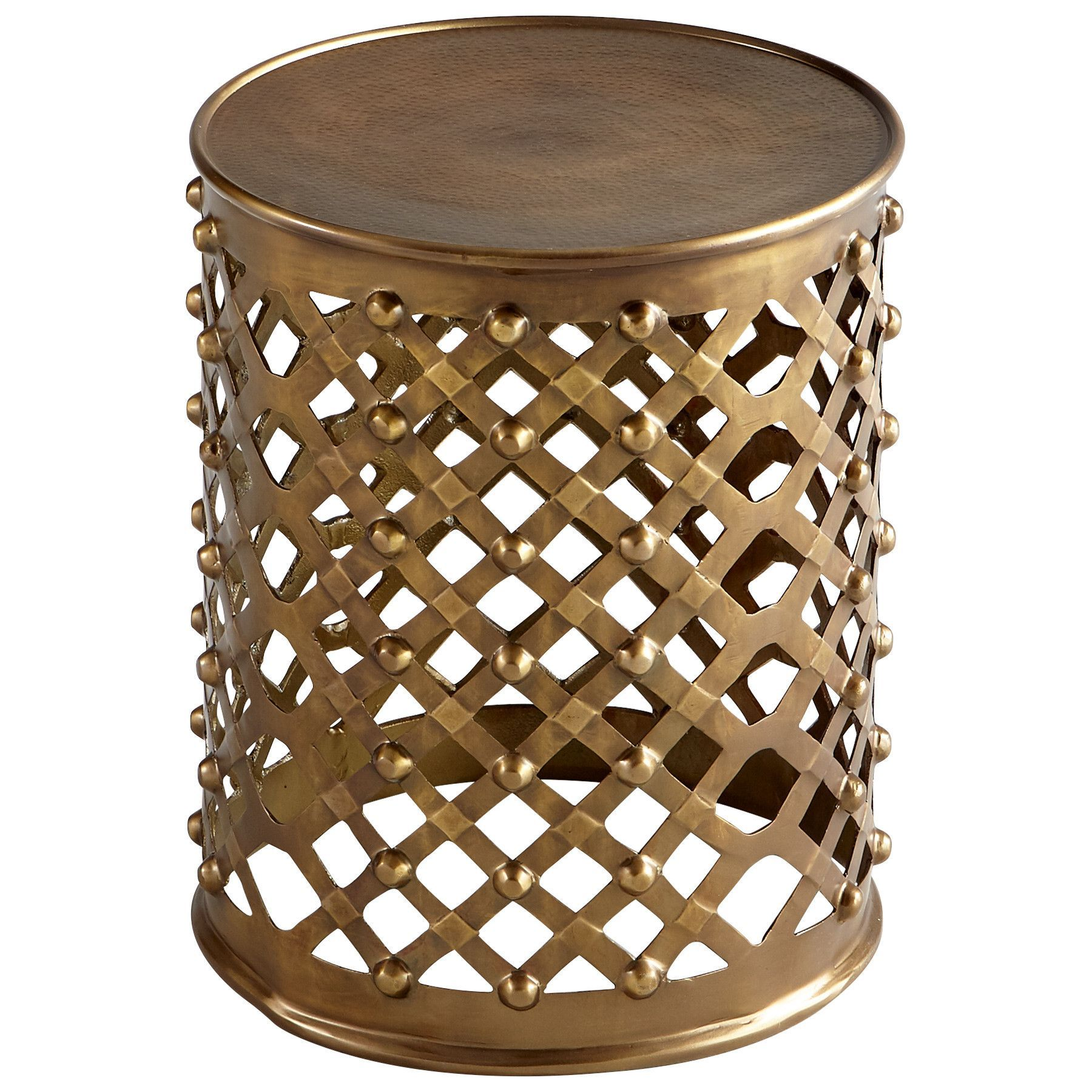 alden side table bronze granby cylinder drum accent threshold mirrored dining rose gold home decor fretwork coffee entrance furniture outdoor metal living room couches ashley