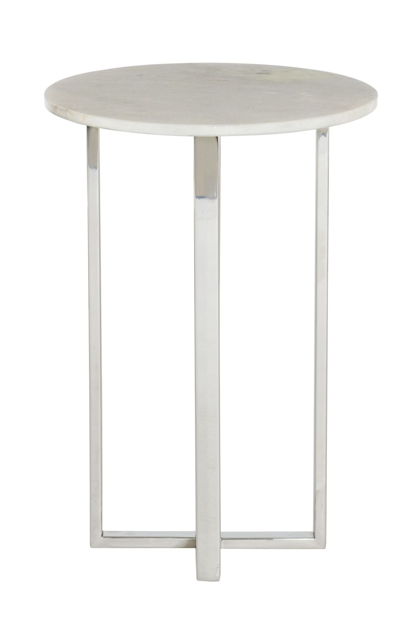 alexi chairside table bernhardt round dia white accent side granite top polished stainless steel base lightfinish chandelier lamp shades small storage chest with drawers pub