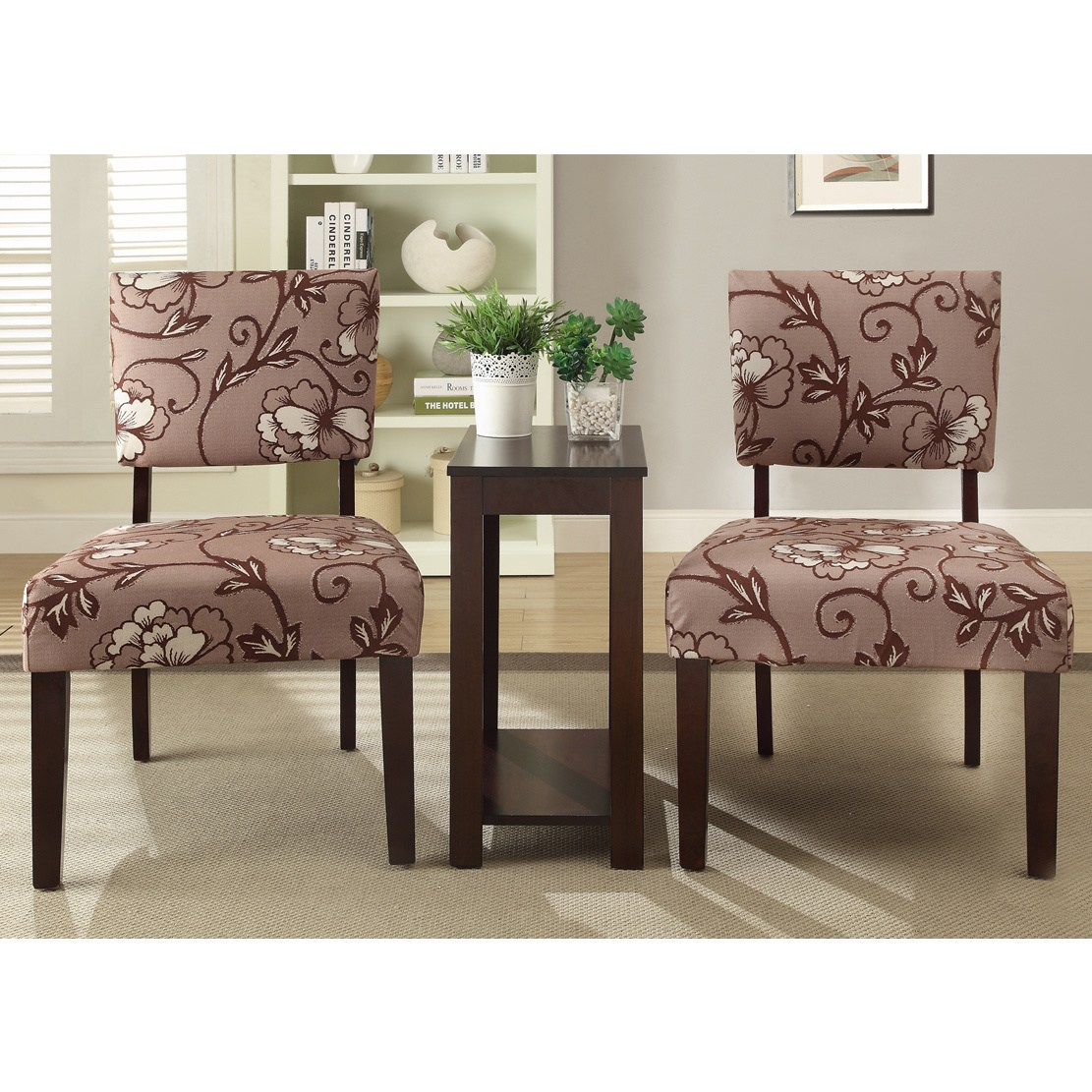 alexis vine piece printed accent chair and side table set free shipping today ashley furniture chaise target hexagon farmhouse nightstand wrought iron occasional tables industrial