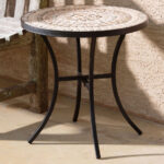 alfresco home boracay wrought iron round ceramic mosaic outdoor side table wide between two recliners silver accent console height woven accents for lamp mila square mirrored end 150x150
