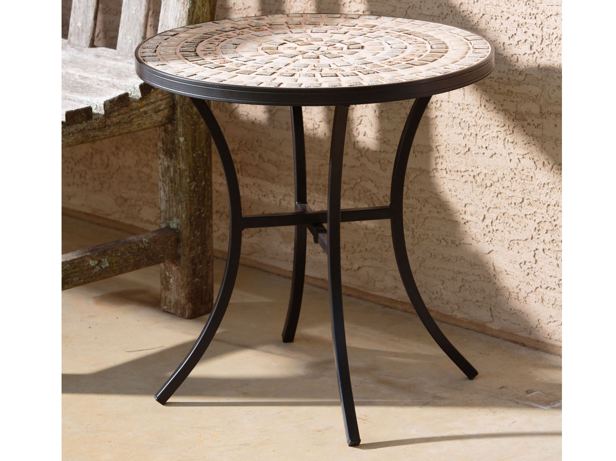 alfresco home boracay wrought iron round ceramic mosaic outdoor side table wide small accent lamps for kitchen vintage replica furniture thomasville end tables turquoise