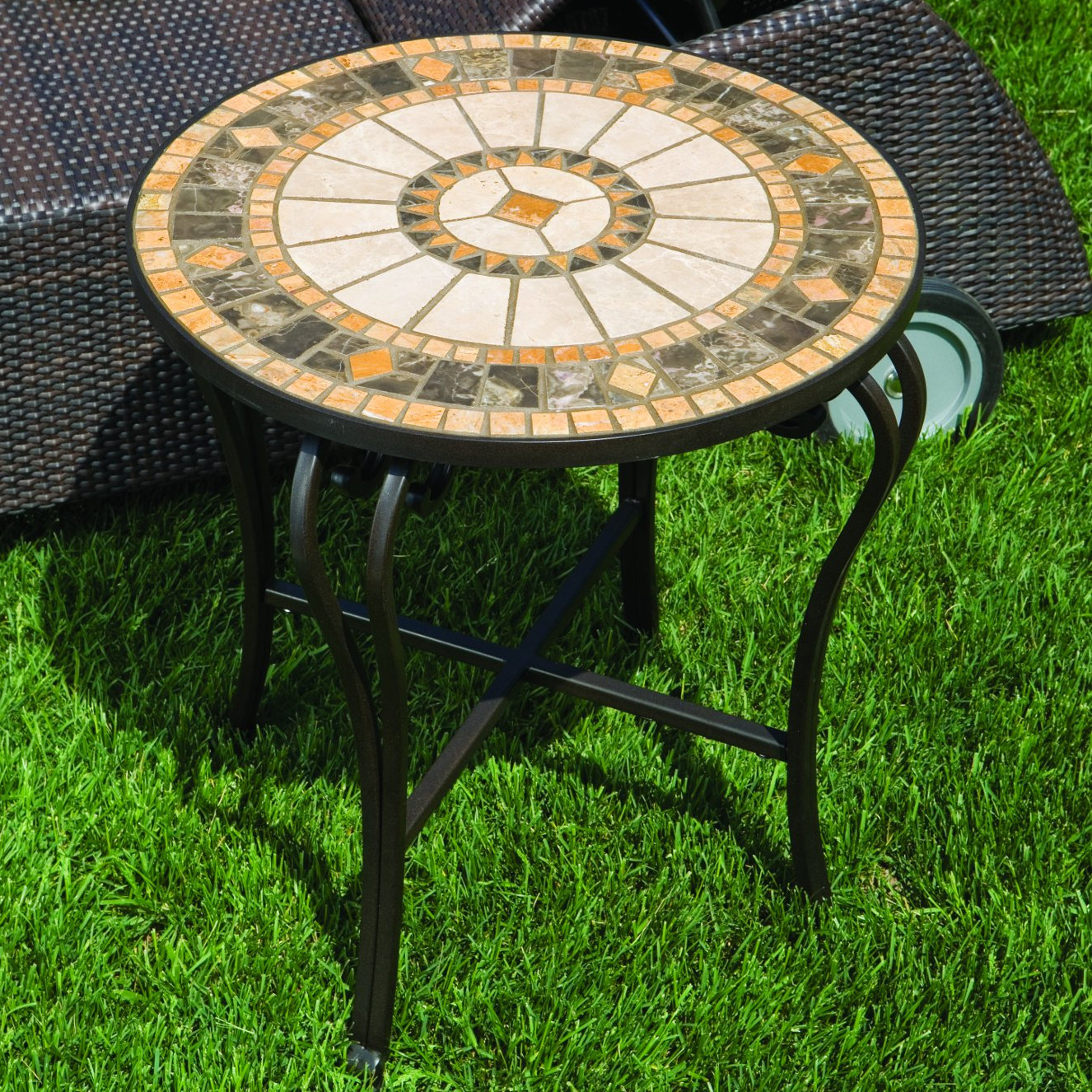 alfresco home compass mosaic side table hampton bay patio accent indoor tables for outdoor cover square umbrella white corner end wire basket trestle tuscan hills grey kitchen