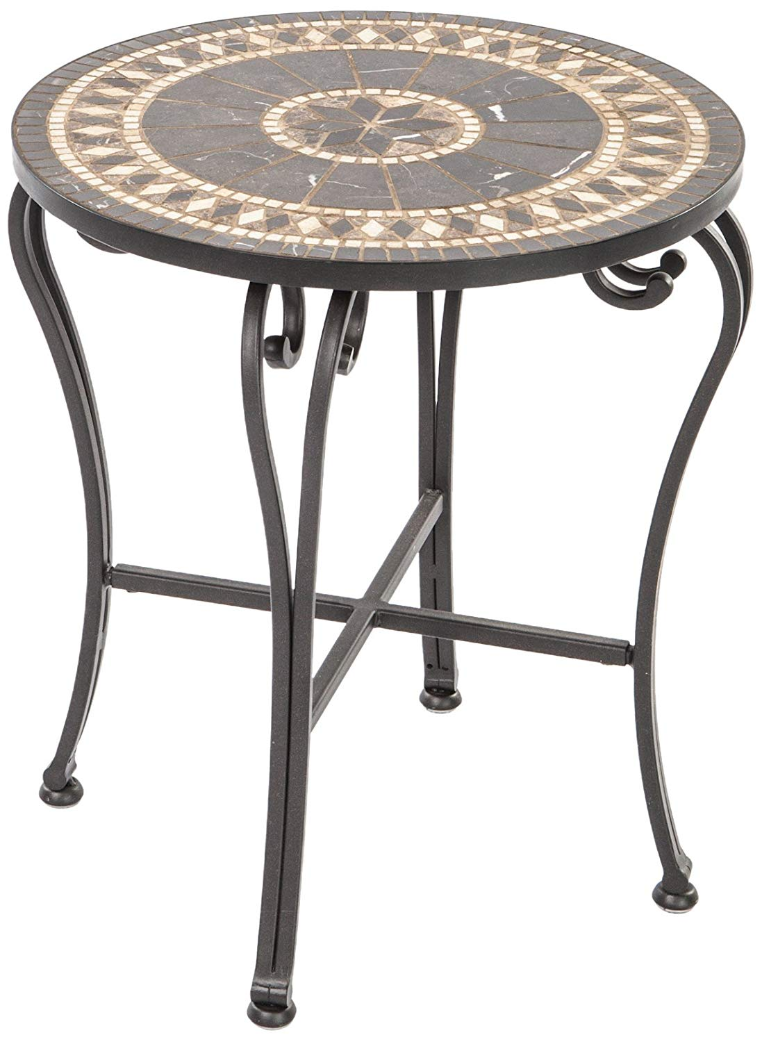 alfresco home indoor outdoor marble mosaic round patio accent table side tables garden mini chest drawers wicker chair west elm coffee desk iron chairs kitchen diner wood slim